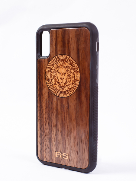 Case for phone LION WOOD