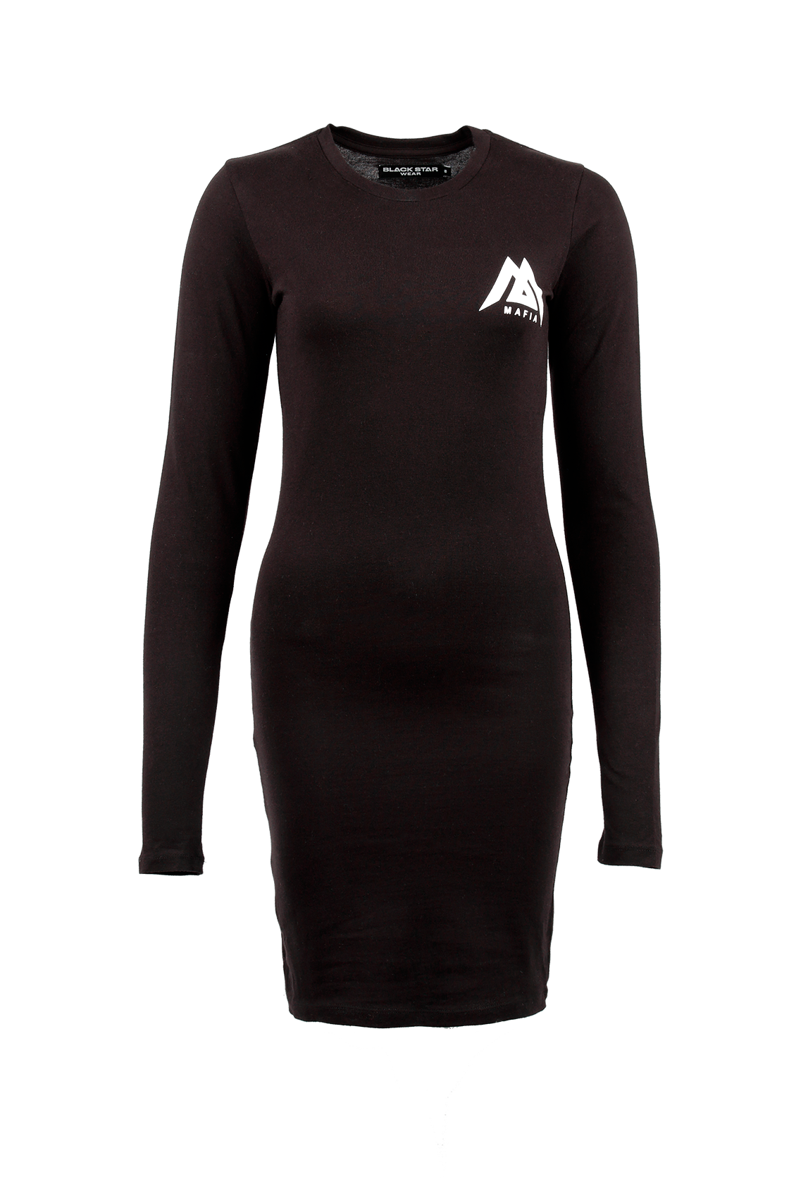 Womens dress Black Star MafiaWomens dress Black Star Mafia by Black Star Wear. Mostly cotton, o-neck, long sleeves, knee length, slim fit. Small BSM logo on the chest and Black Star Mafia lettering on the back. Avaliable in black.<br><br>size: S<br>color: Black<br>gender: female