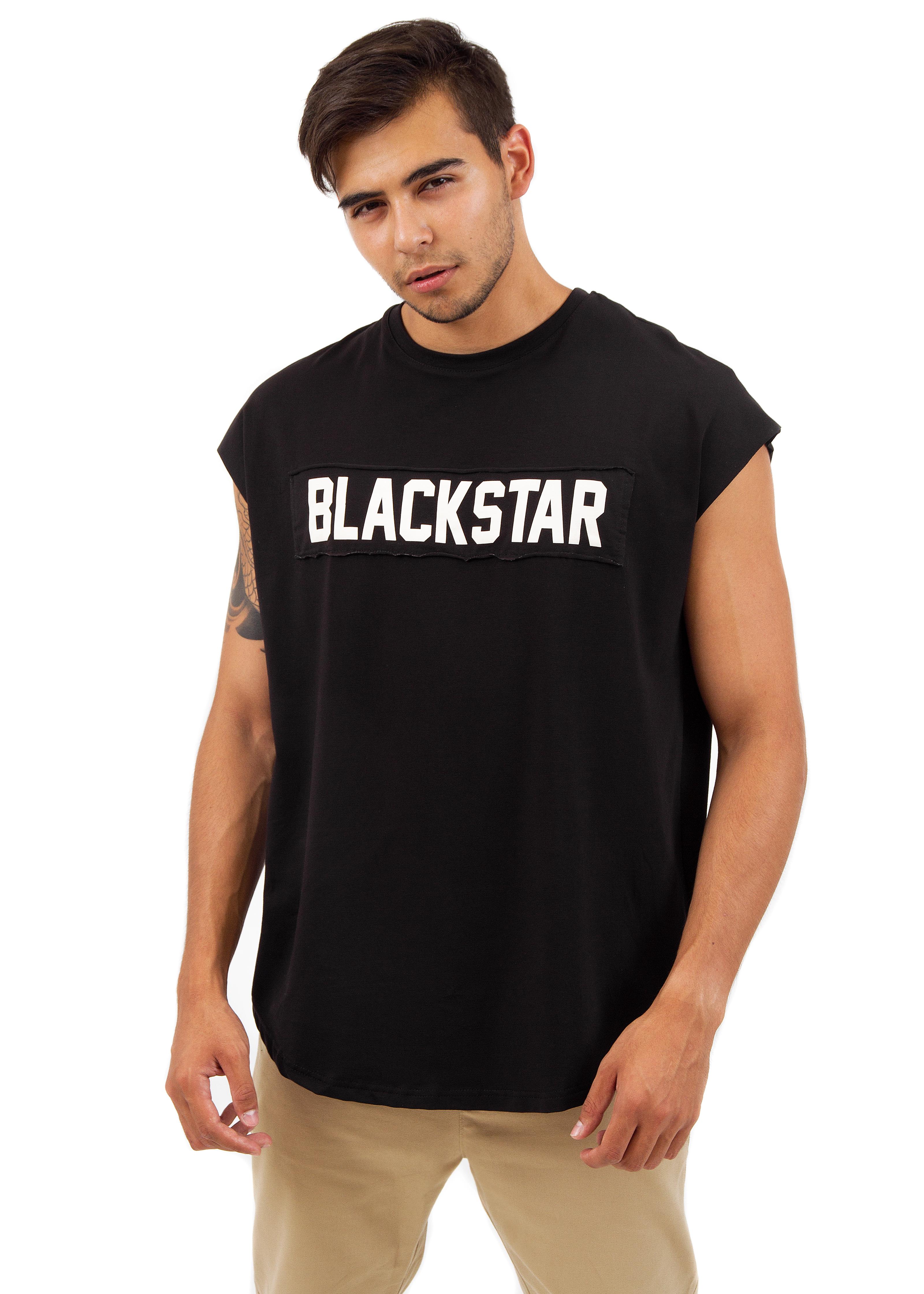 Mens t-shirt BS OriginalT-shirts and Jerseys<br>Мужская футболка из новой коллекции Black Star Wear. Модель удлинённого свободного кроя без рукавов. На груди и спине нашивки с необработанным краем, на которые нанесён принт, стилизованный под нанесение краски баллончиком через трафарет. Базовая вещь в стиле милитари, выполненная из высококачественного хлопкового полотна с необшитым округлым низом, доступна в хаки и чёрном цвете.<br><br>size: XS<br>color: Black<br>gender: male