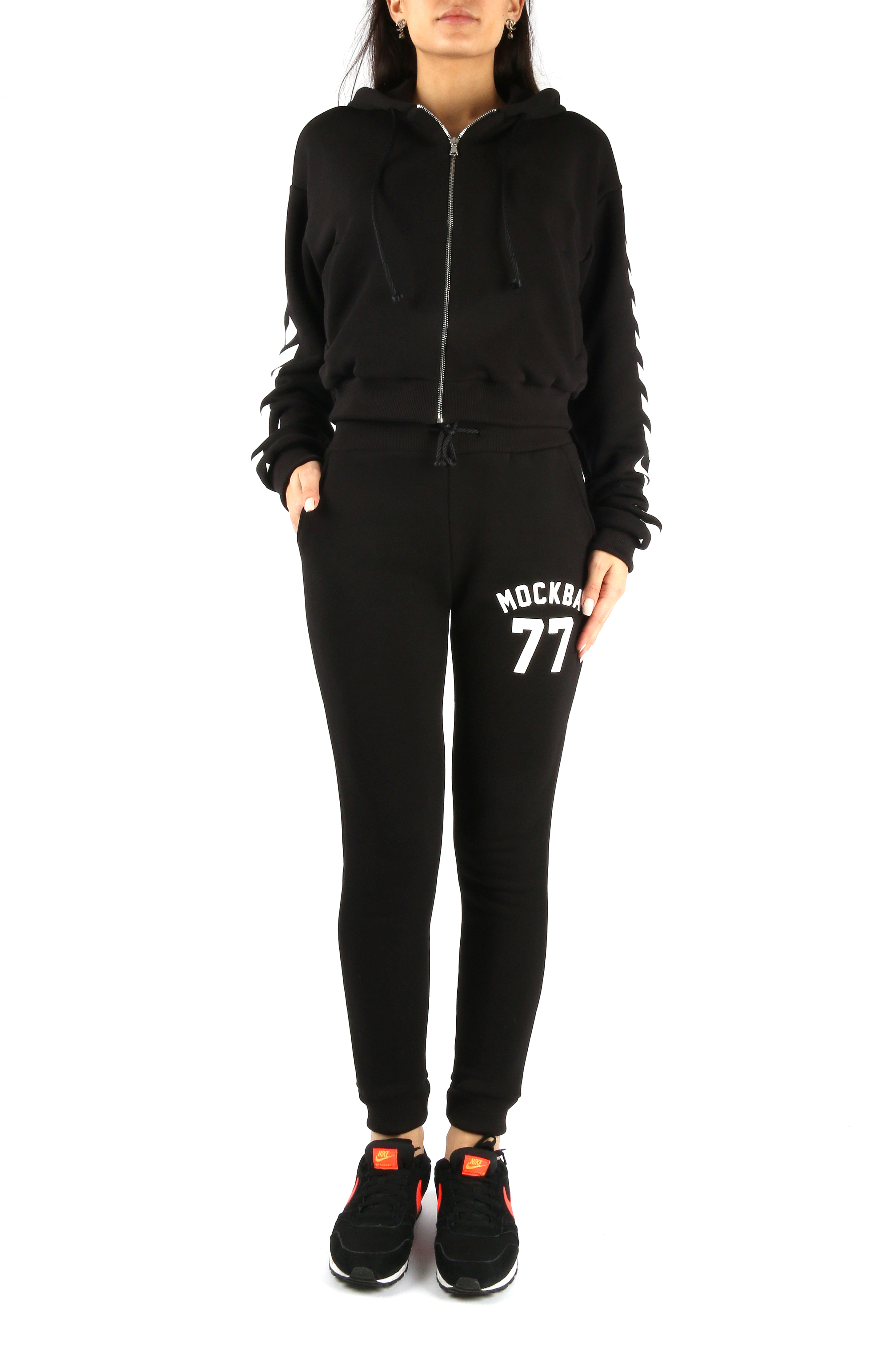 Womens sweatsuit Moscow 77Tracksuits<br>Womens sweatsuit by Black Star Wear. Zipped hoodie with stripes on the sleeves and big print Moscow 77 on the back. Sweatpants with little Moscow 77 print on the left side. Black cotton model with side pockets.<br><br>size: L<br>color: Black<br>gender: female