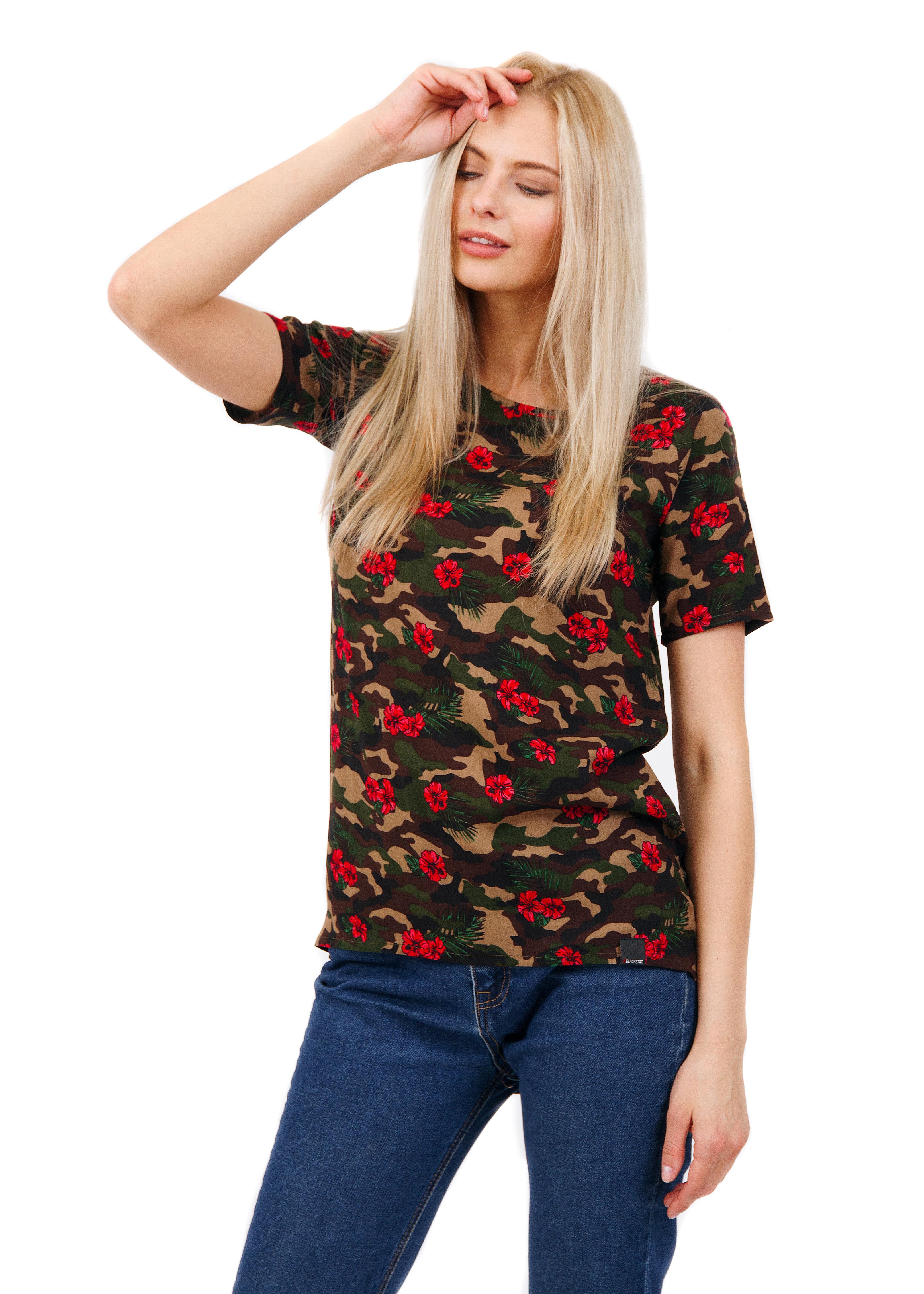 Womens t-shirt Camo FlowersUndershirts and T-shirts<br>Женская футболка камуфляжной расцветки с красными цветами – яркий акцент повседневного образа. Актуальный в этом сезоне ассиметричный крой с удлиненной полукруглой спинкой отлично комбинируется с различной одеждой, позволяя заметно выделяться среди толпы. Модель выполнена из натурального материала люксового качества, дополнена небольшим рукавом и жаккардовой нашивкой Black Star Wear внутри по горловине.<br><br>size: L<br>color: Camouflage<br>gender: female