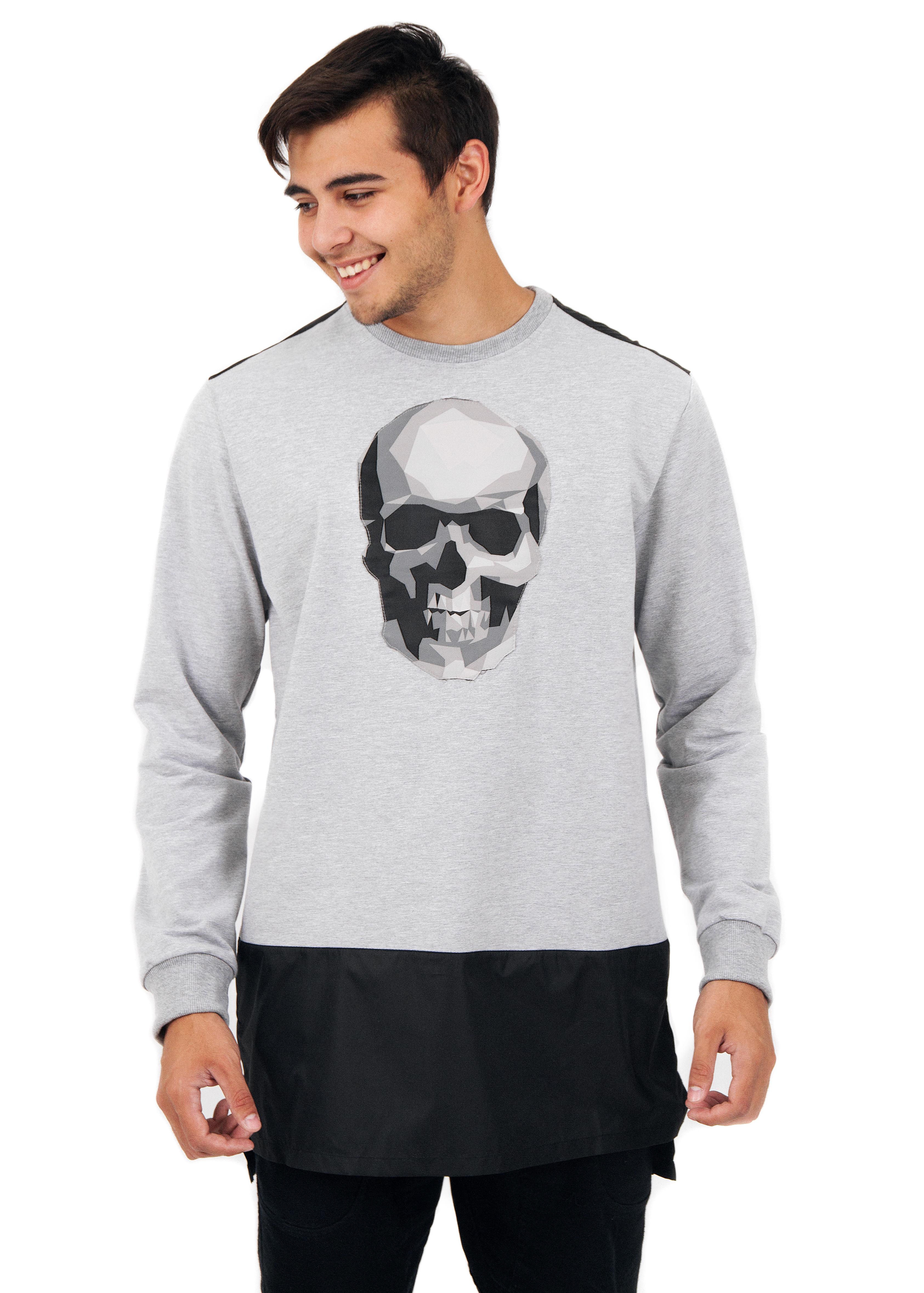 Mens Long Sleeve T-shirt Big Skull от BlackStarWear INT