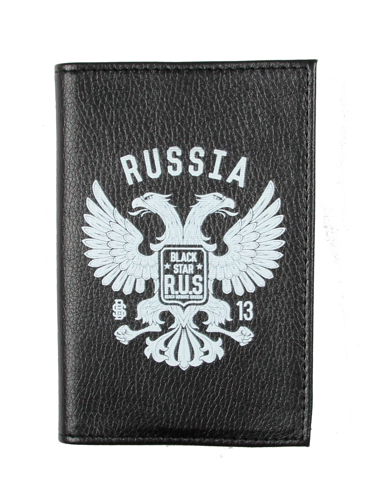 Passport Cover R.U.S.Black eco-leather passport cover by Black Star Wear. Two-headed eagle on the front side. This accessory will keep your documents safe.<br><br>size: One size<br>color: Black<br>gender: unisex