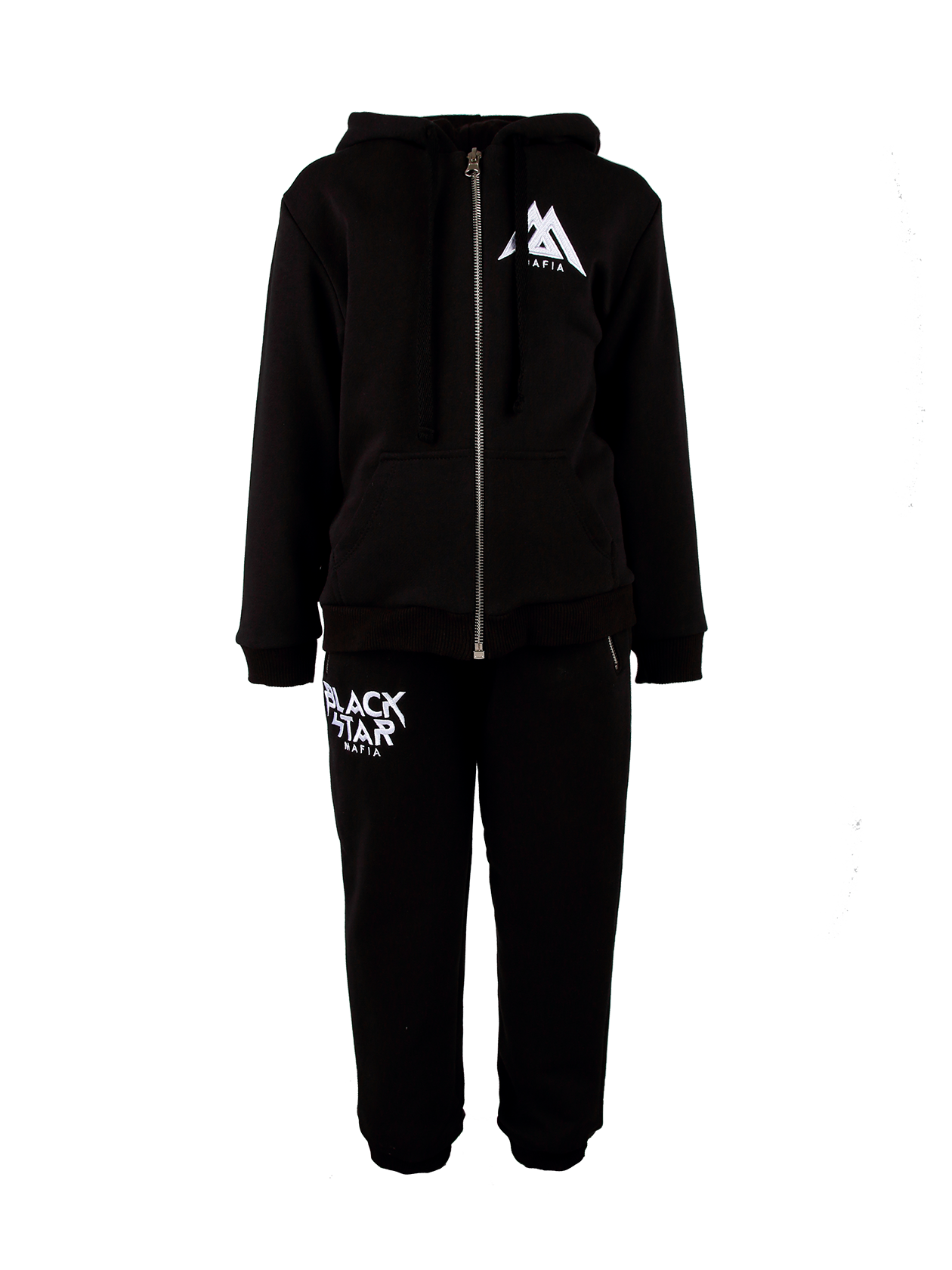 Kids suit Black Star MafiaСтильный спортивный костюм с вышивкой и надписью спереди и на спине в стилистике бренда Black Star – практичное решение для активных детей. Верх представлен толстовкой на молнии, с капюшоном и большими карманами спереди. Брюки с припуском и боковыми карманами заужены к низу. Модель изготовлена из высококачественного хлопка со смесью полиэстера для эластичности изделия.<br><br>size: 1-2 years<br>color: Black<br>gender: unisex