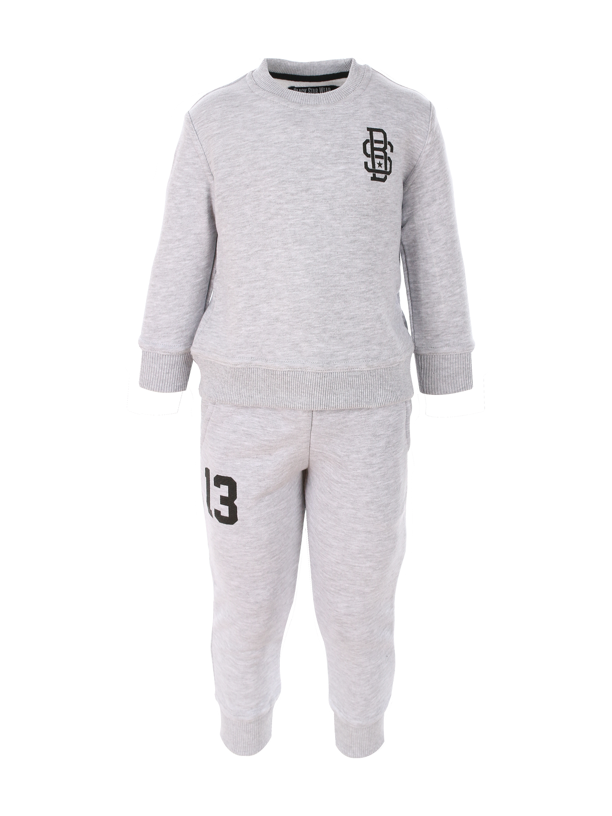 Kids sport suit BS13Kids sweatpants and sweatshirt set by Black Star Wear. Straight fit, natural cotton. Sweatshirt with Black Star monogram on the chest and 13 print on the back. Joggers with side pockets and 13 print on the right side.<br><br>size: 9-10 years<br>color: Grey<br>gender: unisex