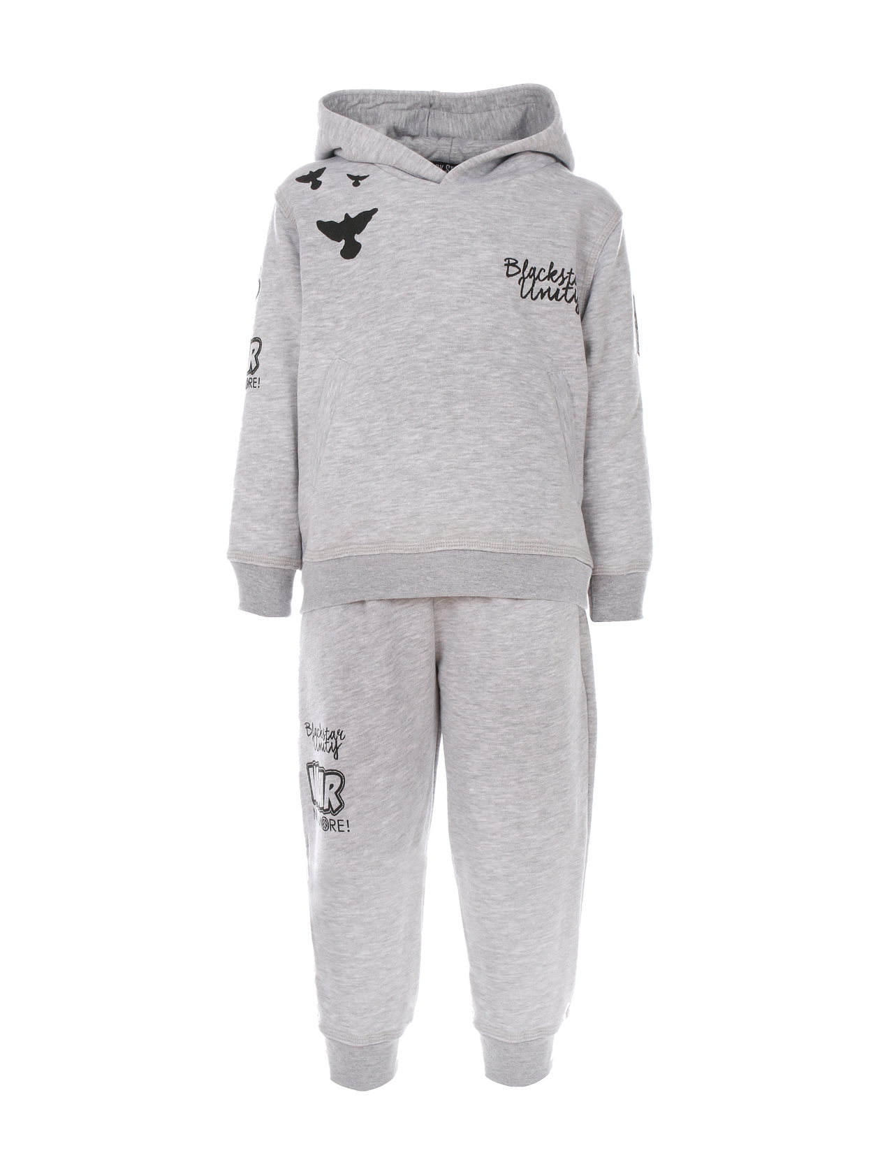Kids tracksuit Black Star UnityKids sweatshirt and sweatpants set by Black Star Wear. Hoodie with print Blackstar Unity and crows on the chest and printed sleeves. Joggers with side pockets and print on the right side. Avaliable in gray.<br><br>size: 3-4 years<br>color: Gray melange<br>gender: unisex