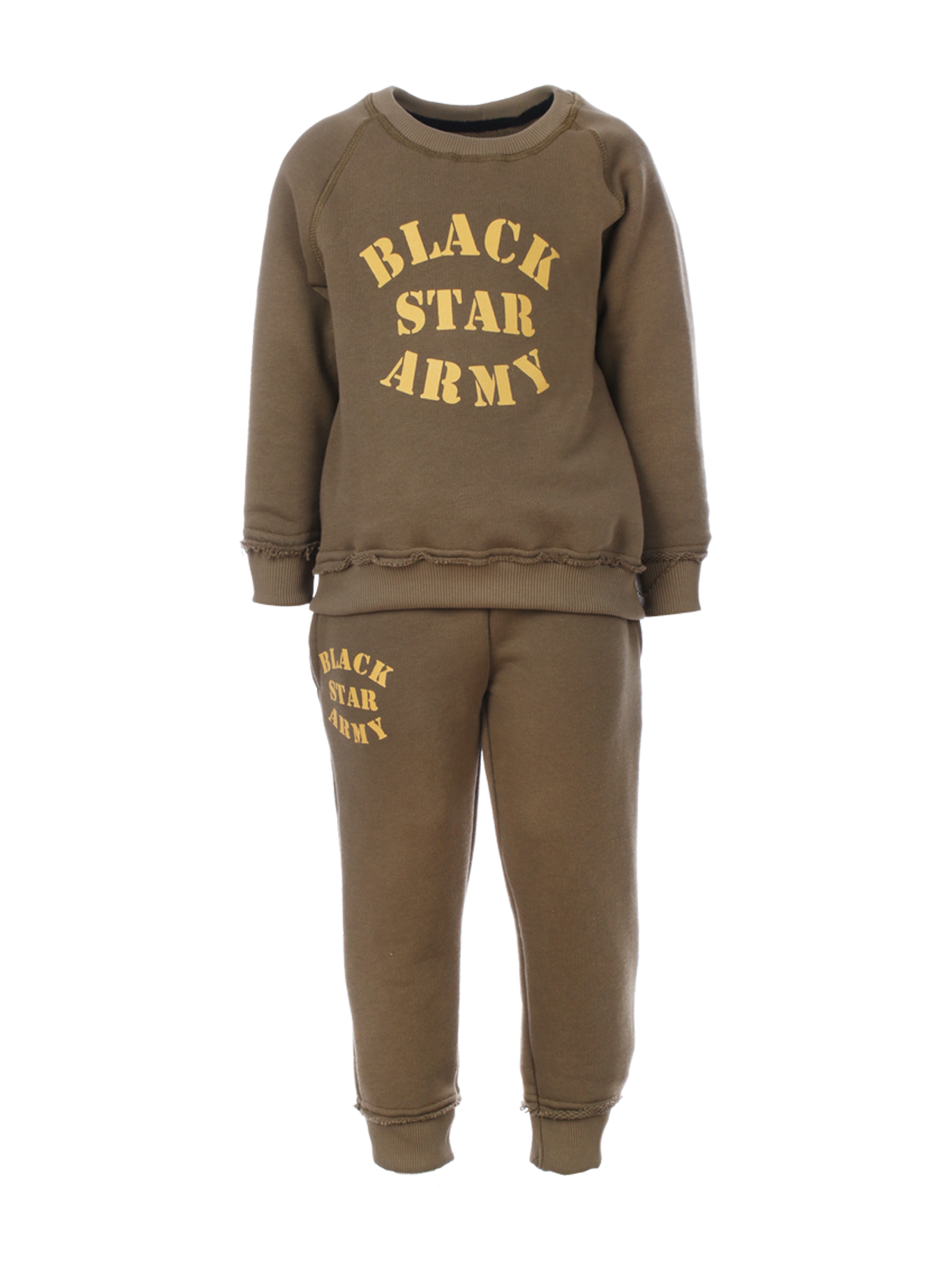 Kids sweatsuit Kids Black Star Army<br><br>size: 5-6 years<br>color: Khaki<br>gender: unisex