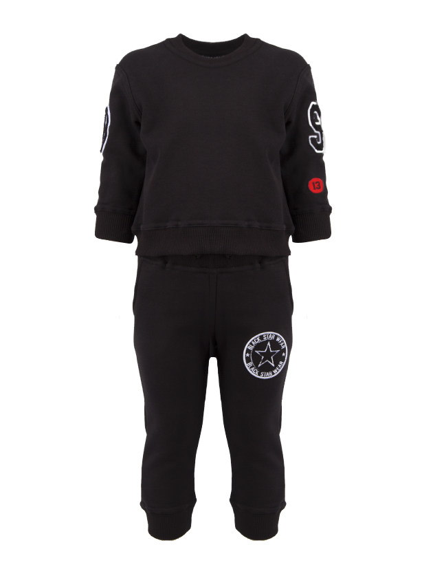 Kids tracksuit Kids BS UniversityKids sweatshirt and sweatpants set by Black Star Wear. Sweatshirt with o-neck, cuffs, patch B on the right sleeve, patch S and a red round patch with 13 on the left sleeve. Sweatpants with side pockets and big branded patch on the left side. Regular fit, natural cotton and polyester blend. Avaliable in black.<br><br>size: 7-8 years<br>color: Black<br>gender: unisex