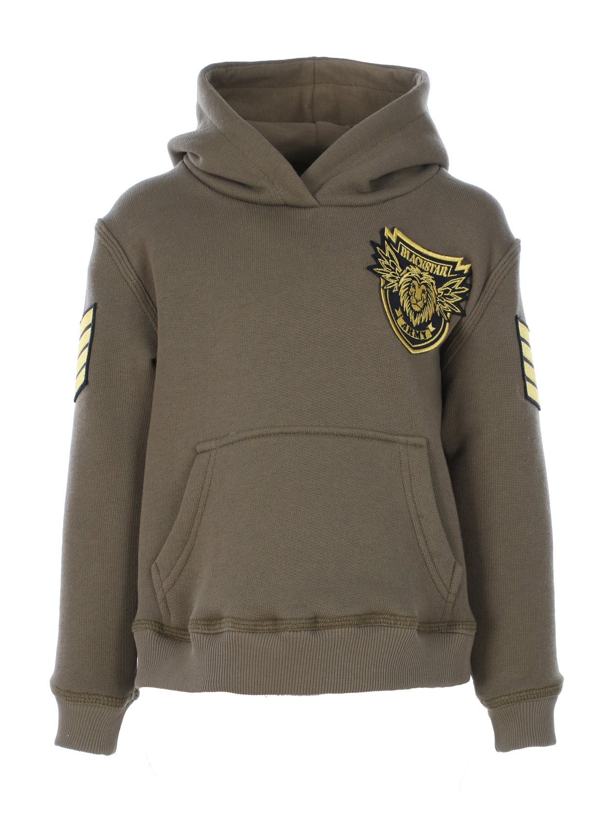 Kids hoodie Black Star ArmyKids hoodie by Black Star Wear. Straight fit, big hood and front pocket. Elastic band on sleeves and cut. Patch with lions head and Black Star Army lettering on the chest, chevrons on sleeves. Classic model in khaki.<br><br>size: 7-8 years<br>color: Khaki<br>gender: unisex