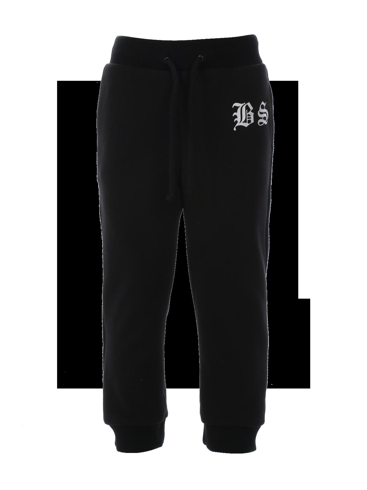 Kids trousers Kids BSСпортивные брюки из детской коллекции Black Star Wear ни по качеству, ни по стилю исполнения не уступают «взрослой» одежде бренда. Модель черного цвета, прямого зауженного кроя дополнена широкими эластичными манжетами по голенищу и боковыми карманами. На поясе регулируемый шнурок, обеспечивающий оптимальную посадку. Стильный акцент – контрастная нашивка BS спереди и российский триколор сзади.<br><br>size: 3-4 years<br>color: Black<br>gender: unisex