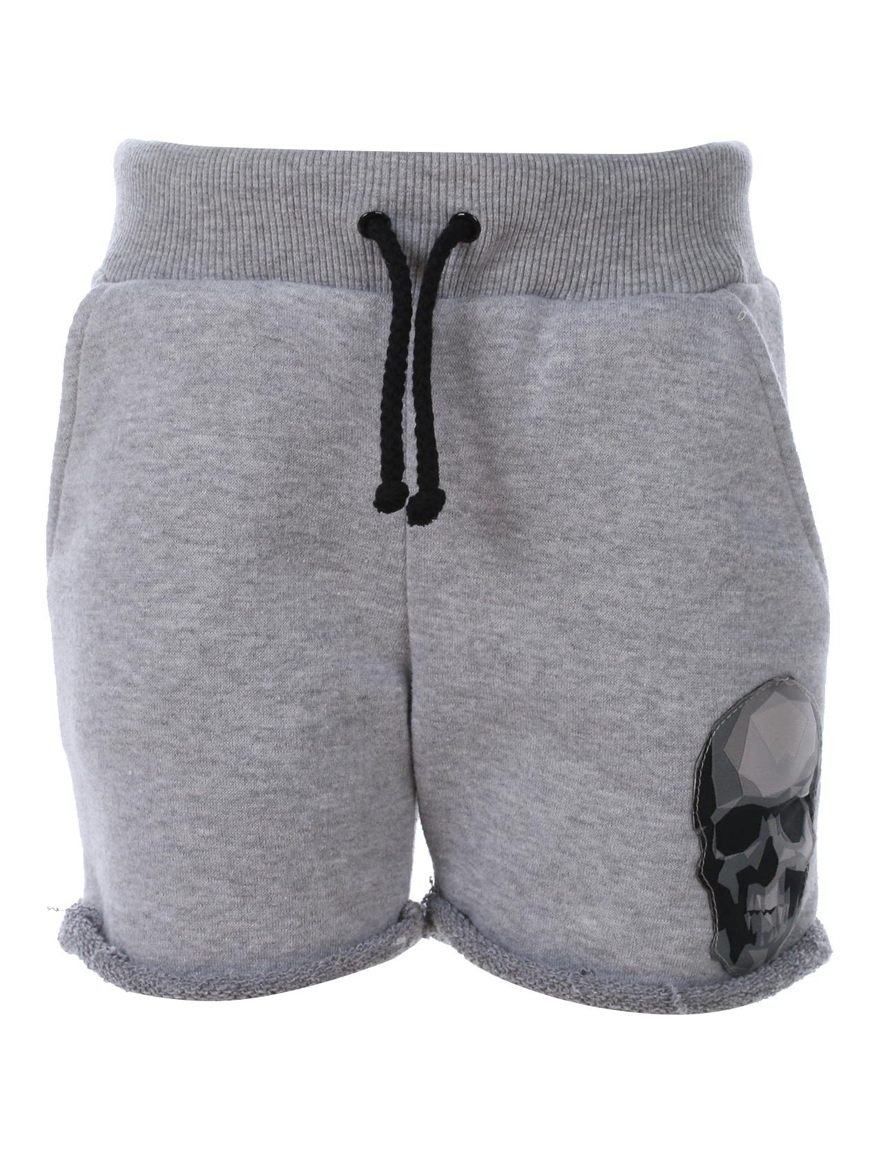 Kids shorts SkullKids shorts by Black Star Wear. Knee length, lacing, regular waist, side pockets, raw cut. 100% natural cotton. Low poly skull patch on the left side. Avaliable in gray.<br><br>size: 1-2 years<br>color: Grey<br>gender: unisex