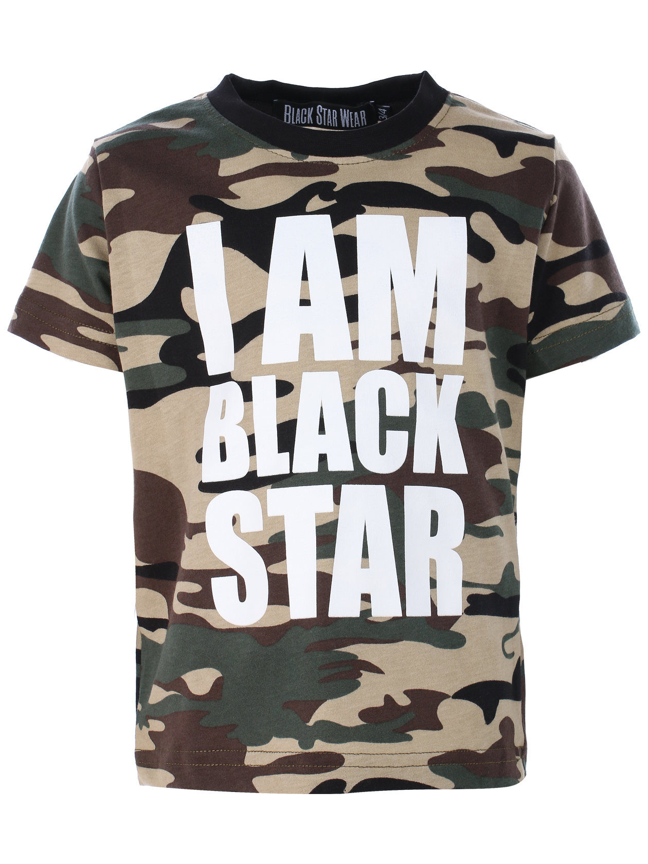 Kids t-shirt I AM BLACK STAR CAMOKids t-shirt by Black Star Wear. Straight fit, classic cut, o-neck, 100% natural cotton tissue. Big white print I am Black Star on the chest. Avaliable in camouflage. 1/2 years: sleeve  9cm, lenght 36cm. 3/4 years: sleeve 9,5cm, lenght 38cm. 5/6 years: sleeve 10cm, lenght 40cm.<br><br>size: 9-10 years<br>color: Camouflage<br>gender: unisex