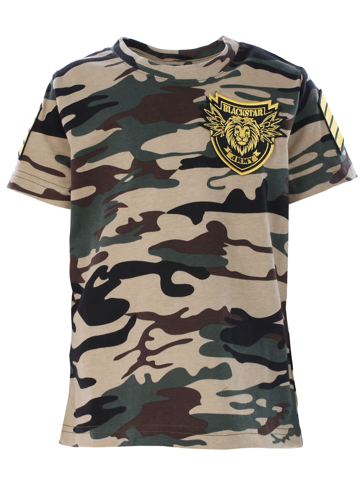 Kids t-shirt Black Star ArmyKids t-shirt by Black Star Wear. Straight fit, 100% cotton, o-neck. Big patch with lions head and Black Star Army lettering on the chest, chevrons on sleeves. These t-shirt is made of soft-touch natural cotton. Avaliable in camouflage.<br><br>size: 1-2 years<br>color: Camouflage<br>gender: unisex
