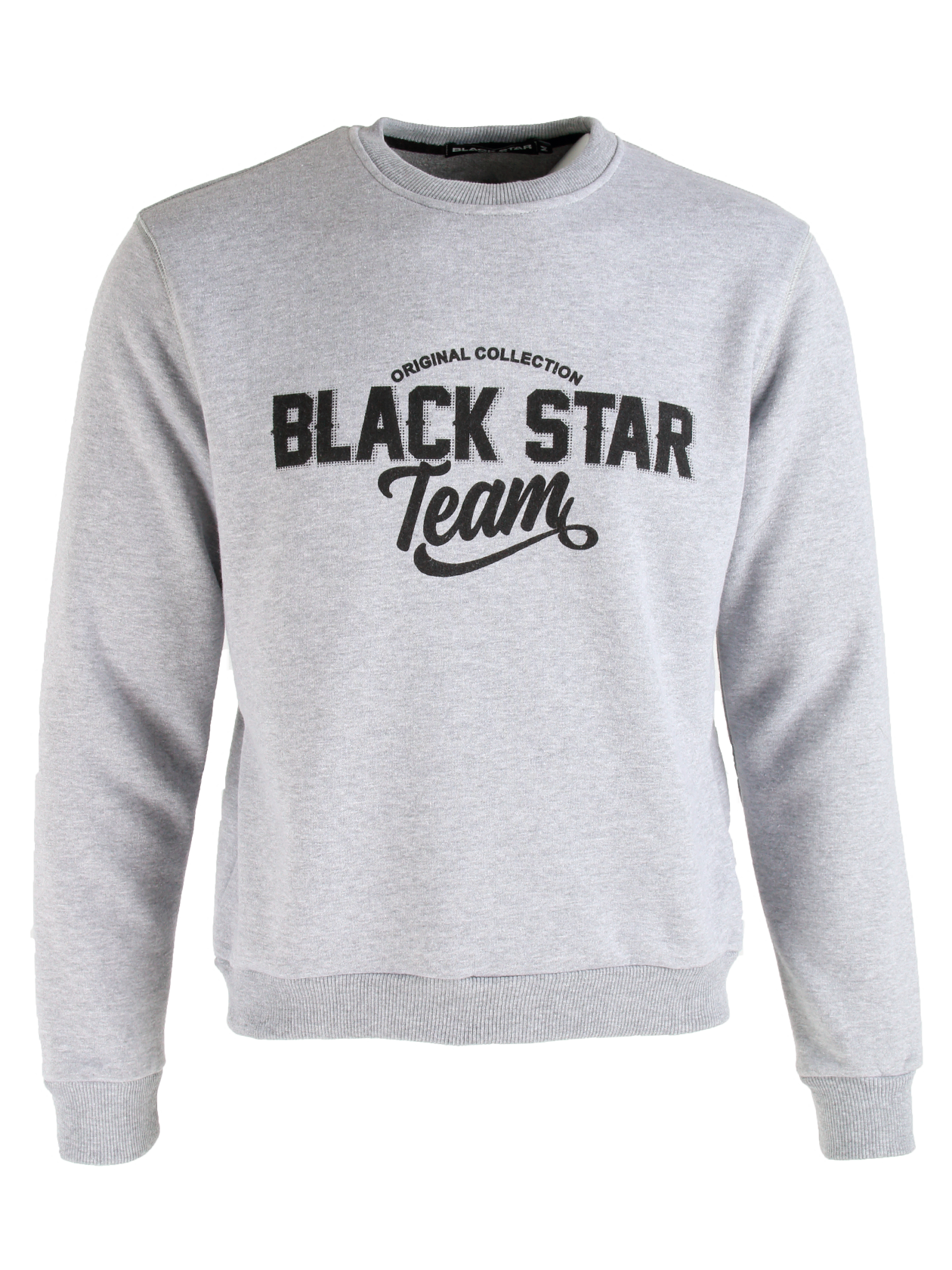 Mens sweatsuit Black Star TeamMens sweatshirt and sweatpants set by Black Star Wear. Sweatshirt with o-neck, cuffs, big print Original Collection Black Star Team and lions head on the back. Sweatpants with side pockets and Original Collection Black Star Team print on the left side. Regular fit, natural cotton. Avaliable in gray.<br><br>size: S<br>color: Grey<br>gender: male