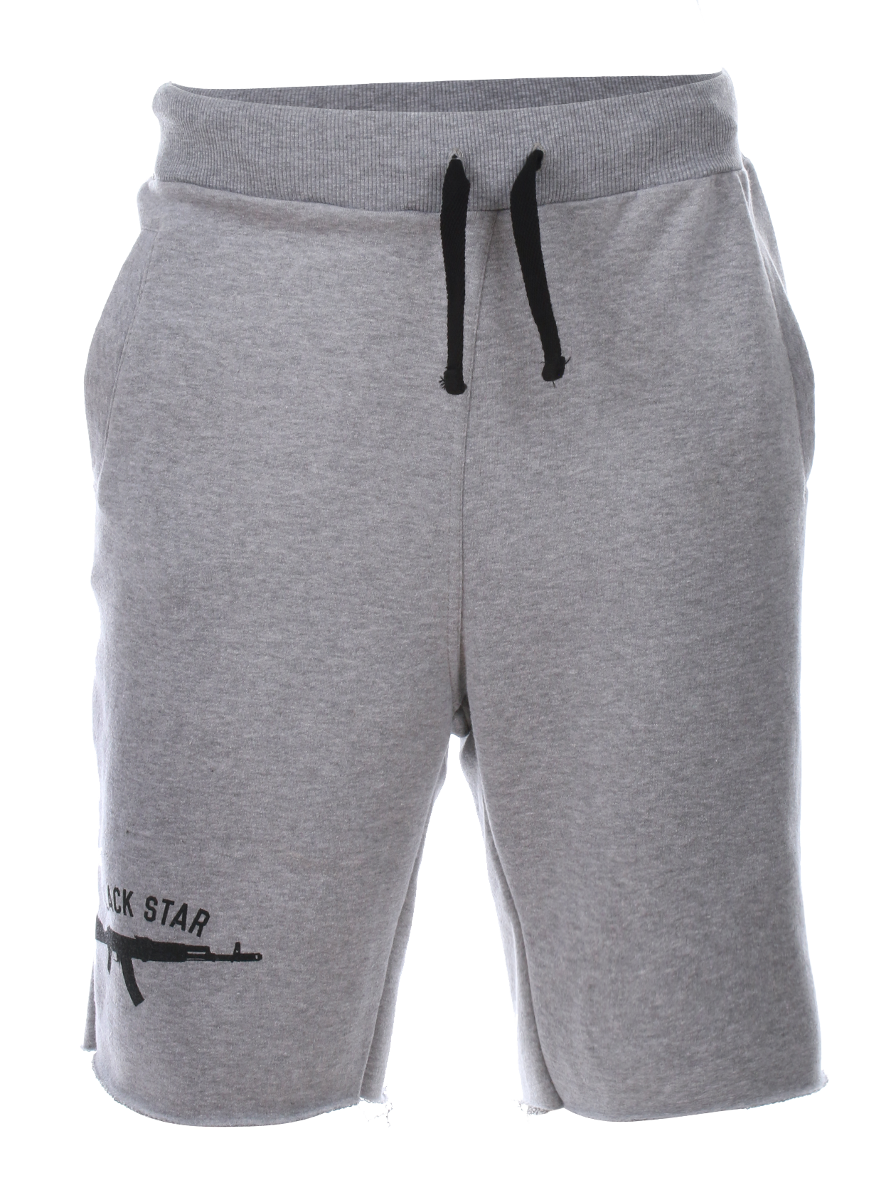 Mens shorts АвтоматMens shorts by Black Star Wear. Knee length, lacing, regular waist, side pockets. 100% natural cotton. AK-47 rifle print on the right side.<br><br>size: XS<br>color: Grey<br>gender: male