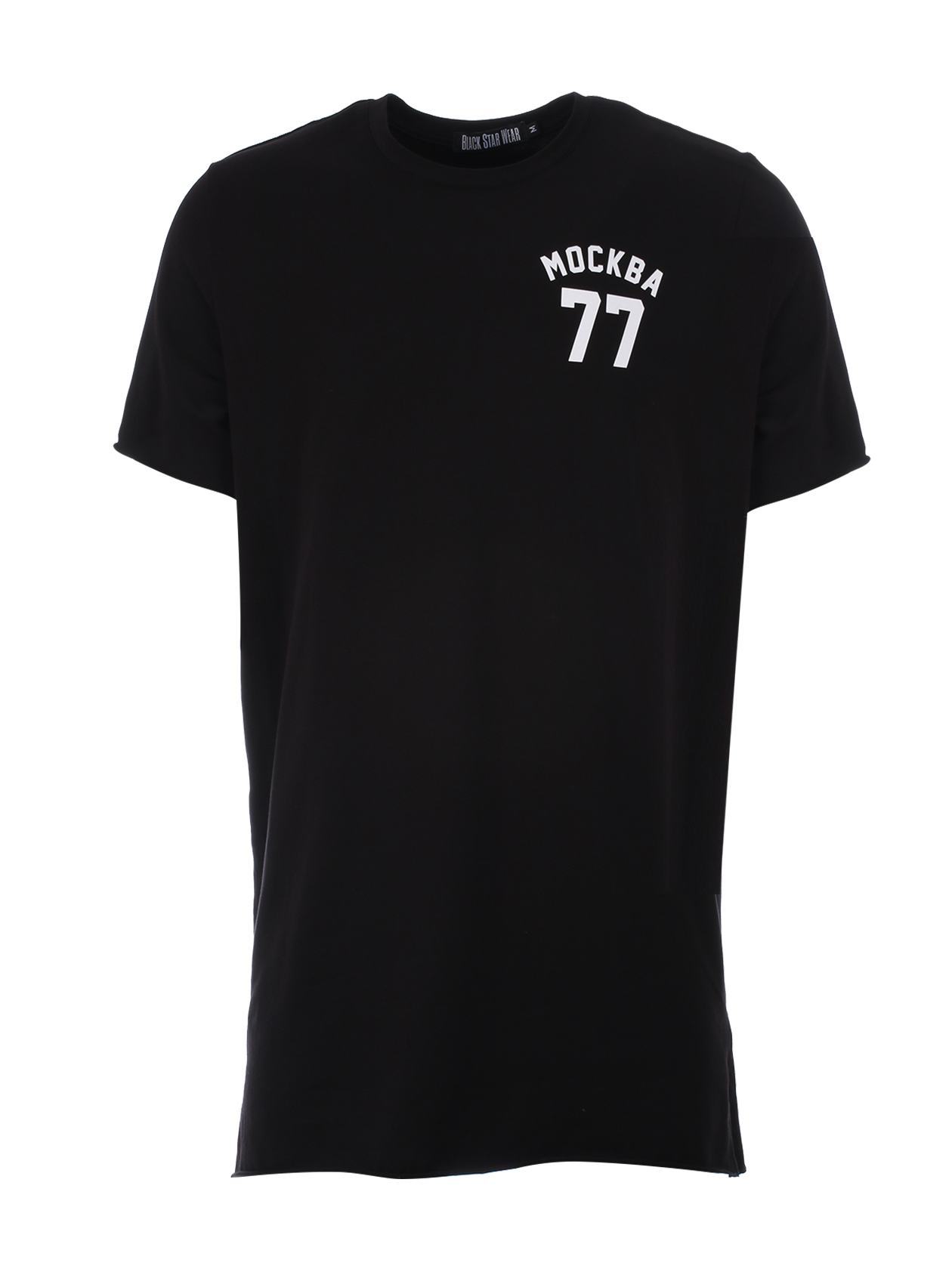 Mens t-shirt Moscow 77Black mens t-shirt by Black Star Wear. Long line t-shirt, o-neck, normal sleeve. Small print Moscow 77 on the chest and horizontal lines on the back. Made out of soft-touch cotton.<br><br>size: S<br>color: Black<br>gender: male