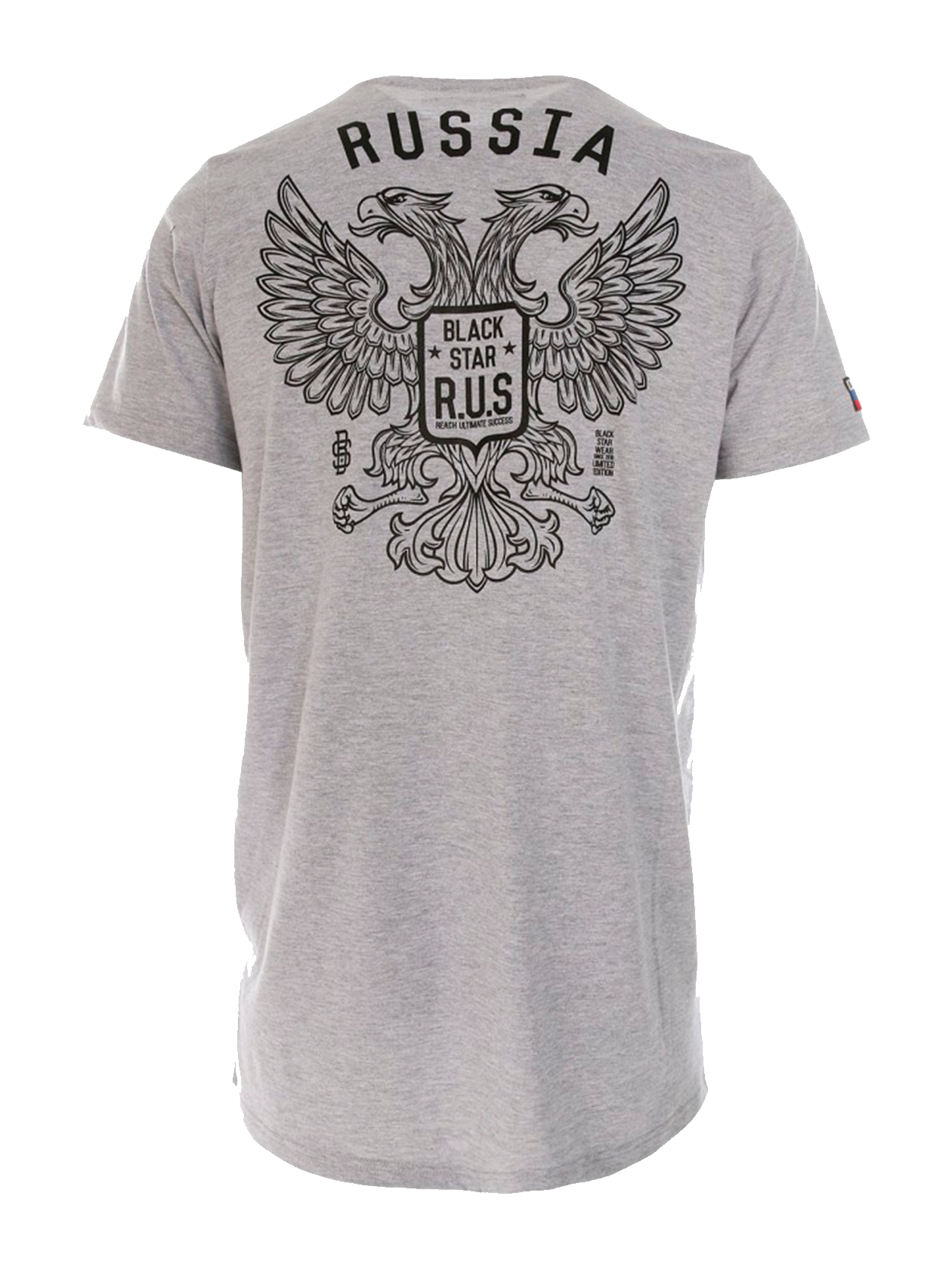 Mens t-shirt GERBMens t-shirt GERB by Black Star Wear. Crew neck, straight cut. Big white print of two headed eagle with brand identity and small Black Star R.U.S. (Reach Ultimate Success) on the front. Russian tricolor patch on the right sleeve. Avaliable in black, gray and white.<br><br>size: XS<br>color: Grey<br>gender: male