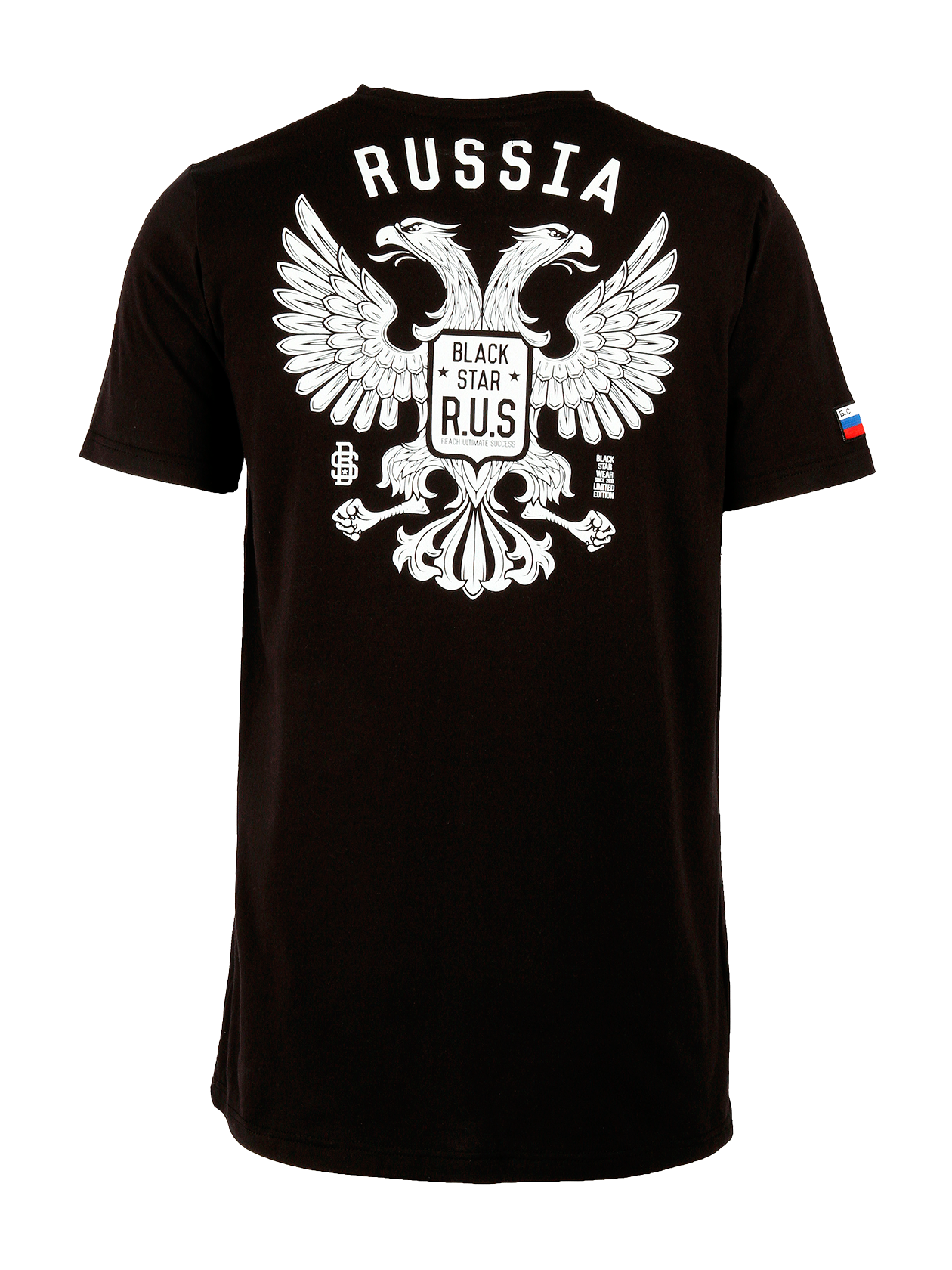 Mens t-shirt GERBMens t-shirt GERB by Black Star Wear. Crew neck, straight cut. Big white print of two headed eagle with brand identity and small Black Star R.U.S. (Reach Ultimate Success) on the front. Russian tricolor patch on the right sleeve. Avaliable in black, gray and white.<br><br>size: XXS<br>color: Black<br>gender: male