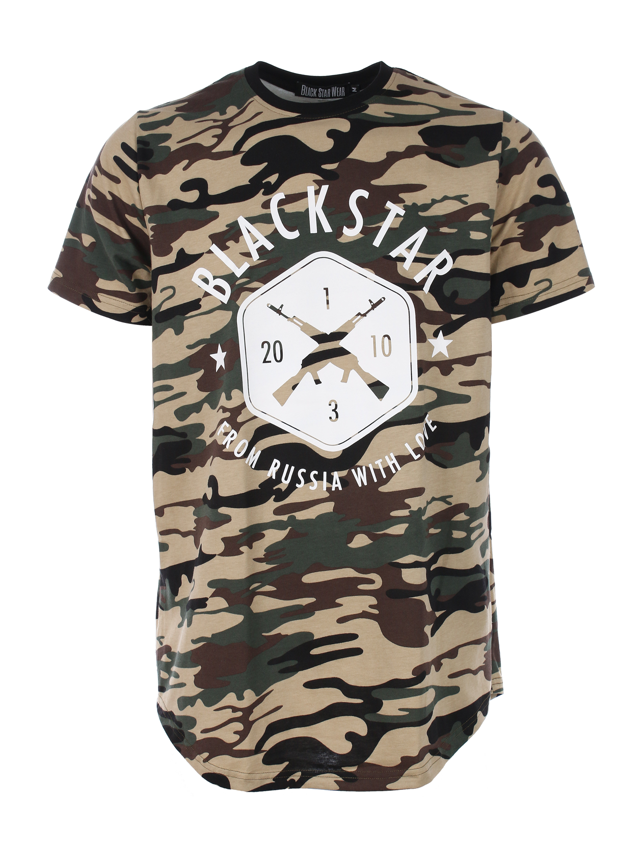 Mens t-shirt BLACK + STAR CAMOMens t-shirt by Black Star Wear. Round cut, 100% cotton, o-neck. Big print with crossed rifles and Blackstar - from Russia with love lettering. These t-shirt is made of soft-touch natural cotton and feels like its been your favourite for years. Avaliable in white and khaki camouflage.<br><br>size: M<br>color: Khaki<br>gender: male