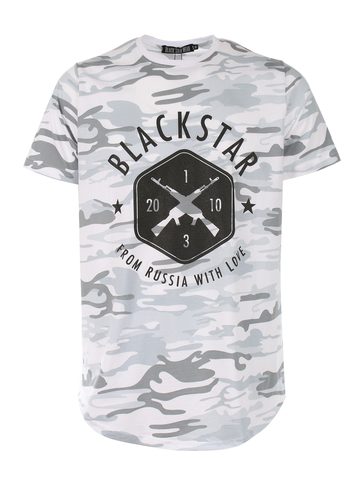 Mens t-shirt BLACK + STAR CAMOT-shirts and Jerseys<br>Mens t-shirt by Black Star Wear. Round cut, 100% cotton, o-neck. Big print with crossed rifles and Blackstar - from Russia with love lettering. These t-shirt is made of soft-touch natural cotton and feels like its been your favourite for years. Avaliable in white and khaki camouflage.<br><br>size: L<br>color: White<br>gender: male