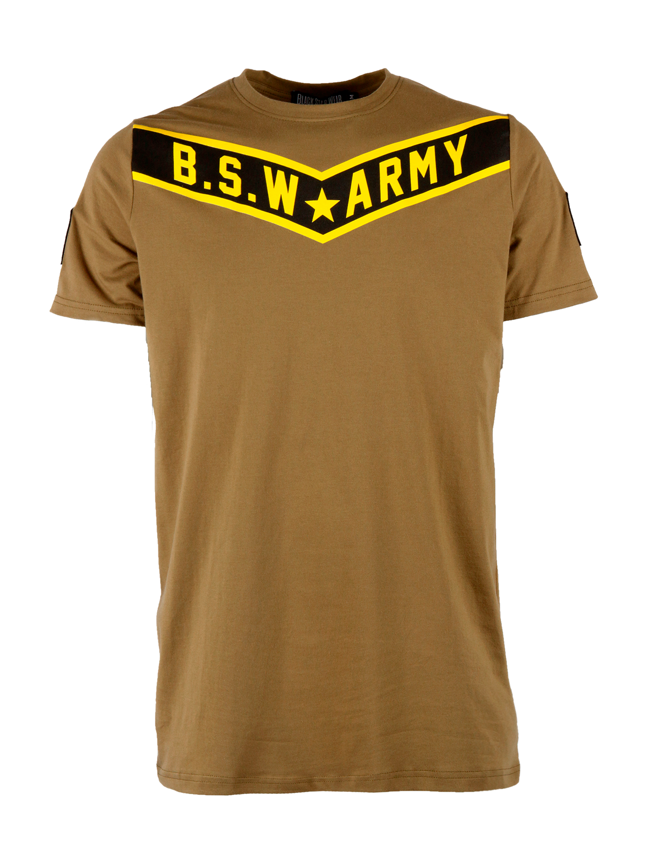 Mens t-shirt B.S.W. ArmyMens military style t-shirt by Black Star Wear. Longline cut, straight fit, natural cotton (95%) and lycra (5%) blend, o-neck. Shevron patches on the sleeves, B.S.W. Army print in black and yellow on the chest. Avaliable in khaki.<br><br>size: XS<br>color: Khaki<br>gender: male