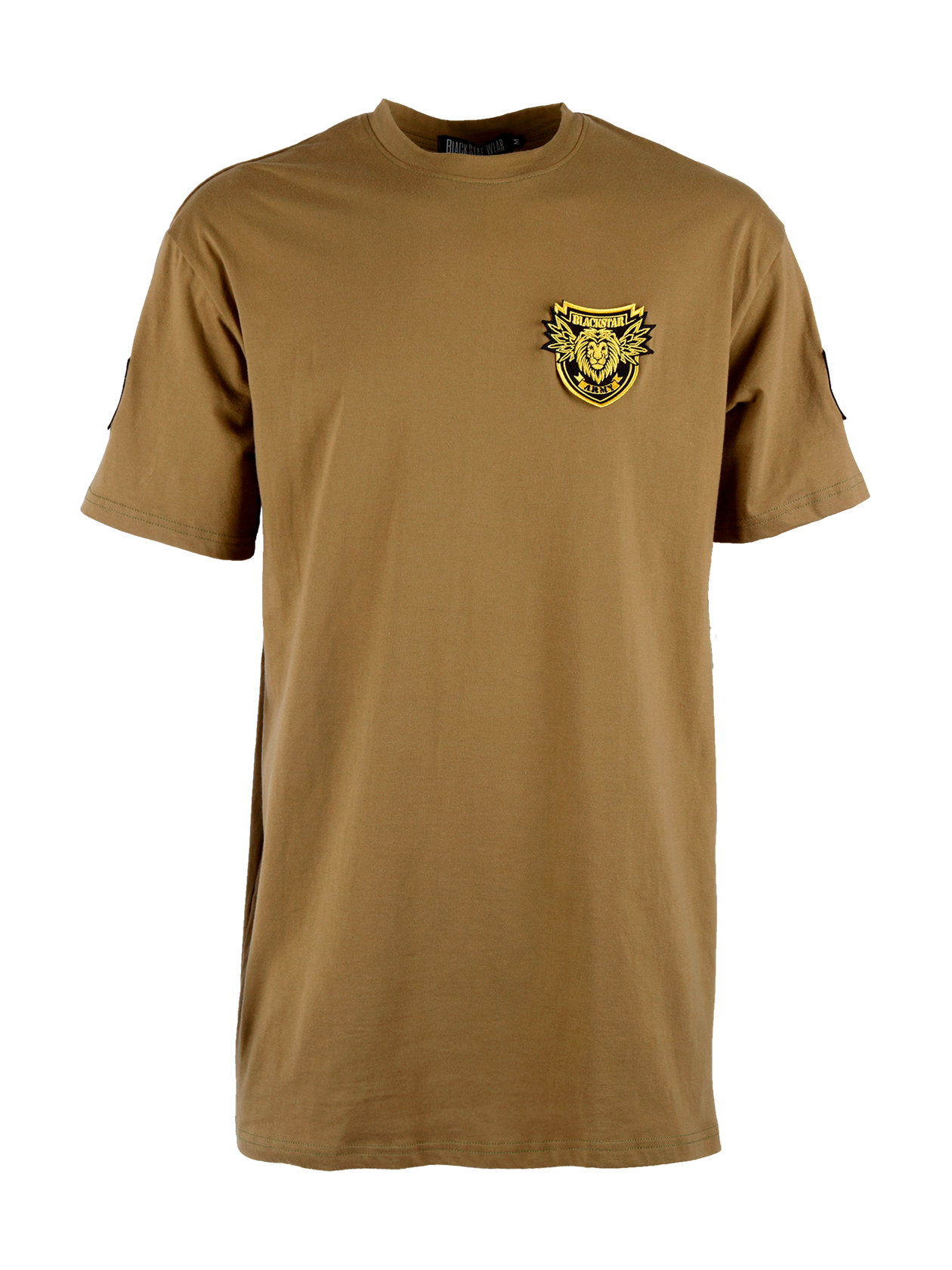 Mens t-shirt BS ArmyMens military style t-shirt by Black Star Wear. Longline cut, straight fit, natural cotton (95%) and lycra (5%) blend, o-neck. Shevron patches on the sleeves, Black Star Army patch with a lions head on the chest. Avaliable in khaki.<br><br>size: XS<br>color: Khaki<br>gender: male