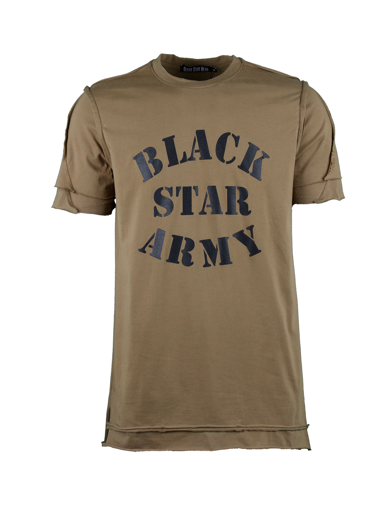 Mens t-shirt Black Star ArmyMens military style t-shirt by Black Star Wear. Longline cut, straight fit, natural cotton (95%) and lycra (5%) blend, o-neck, raw cut. Big black print Black Star Army on the chest. Avaliable in khaki.<br><br>size: L<br>color: Khaki<br>gender: male
