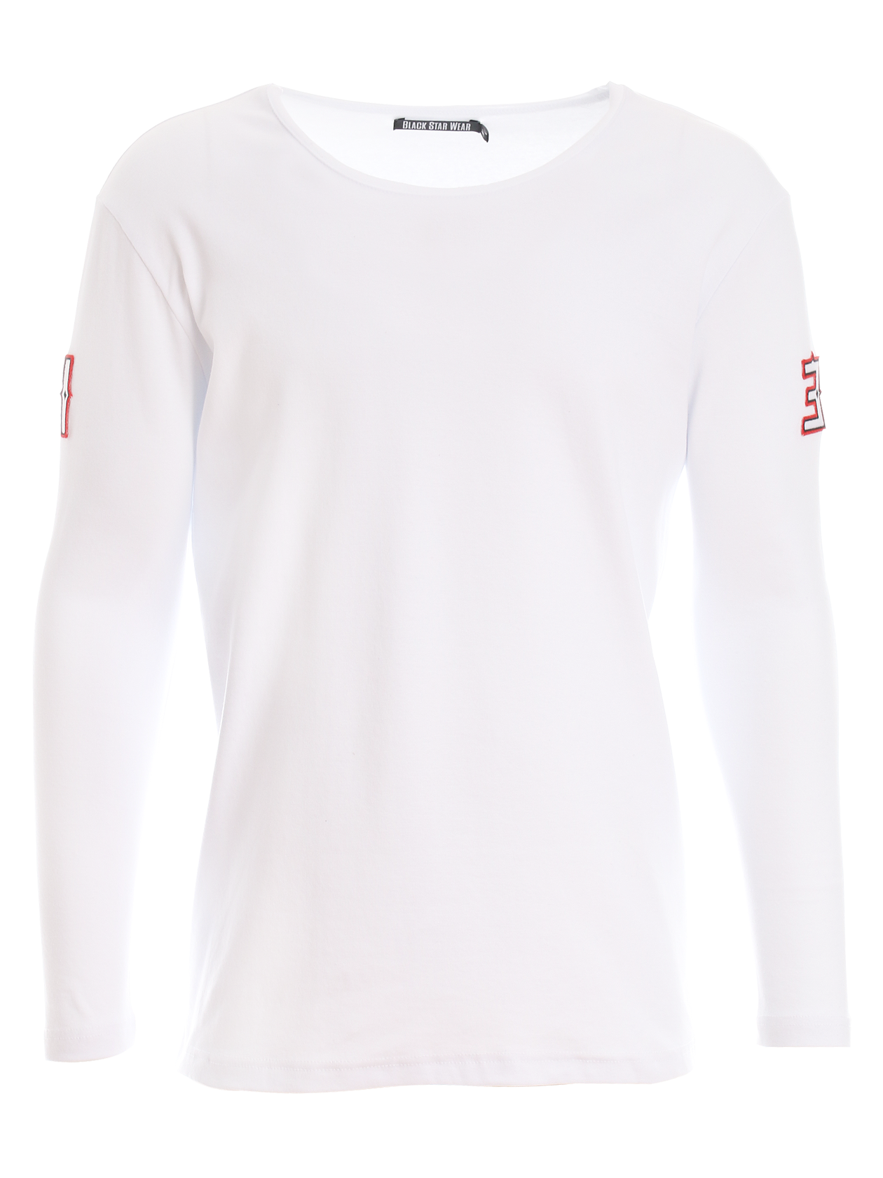 Mens long sleeve t-shirt SCOOP 13Mens long sleeve t-shirt by Black Star Wear. Straight cut, regular fit, raw cut neckline. Patches on sleeves - 1 and 3. Material: natural cotton - 90%, lycra - 10%. Avaliable in black, gray and white.<br><br>size: M<br>color: White<br>gender: male