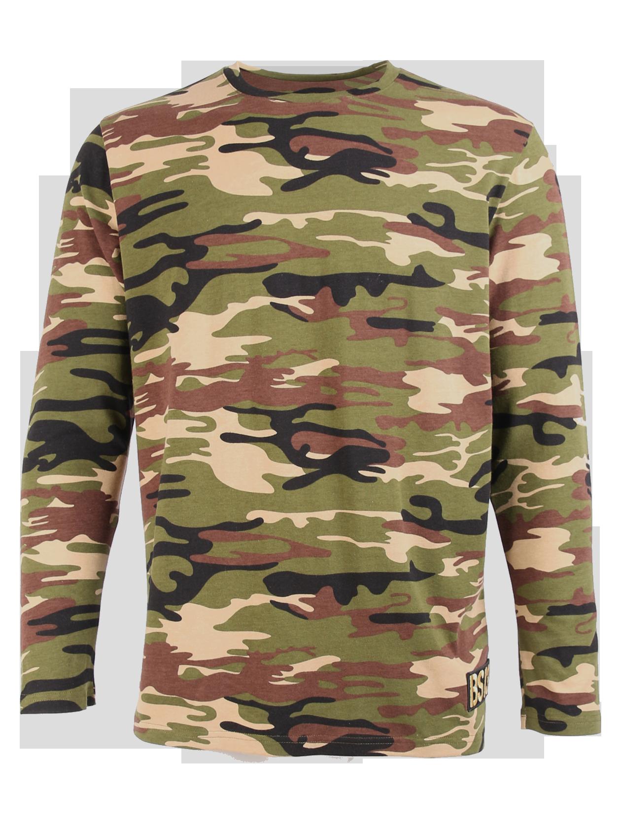 Mens long sleeve t-shirt Camo Patch