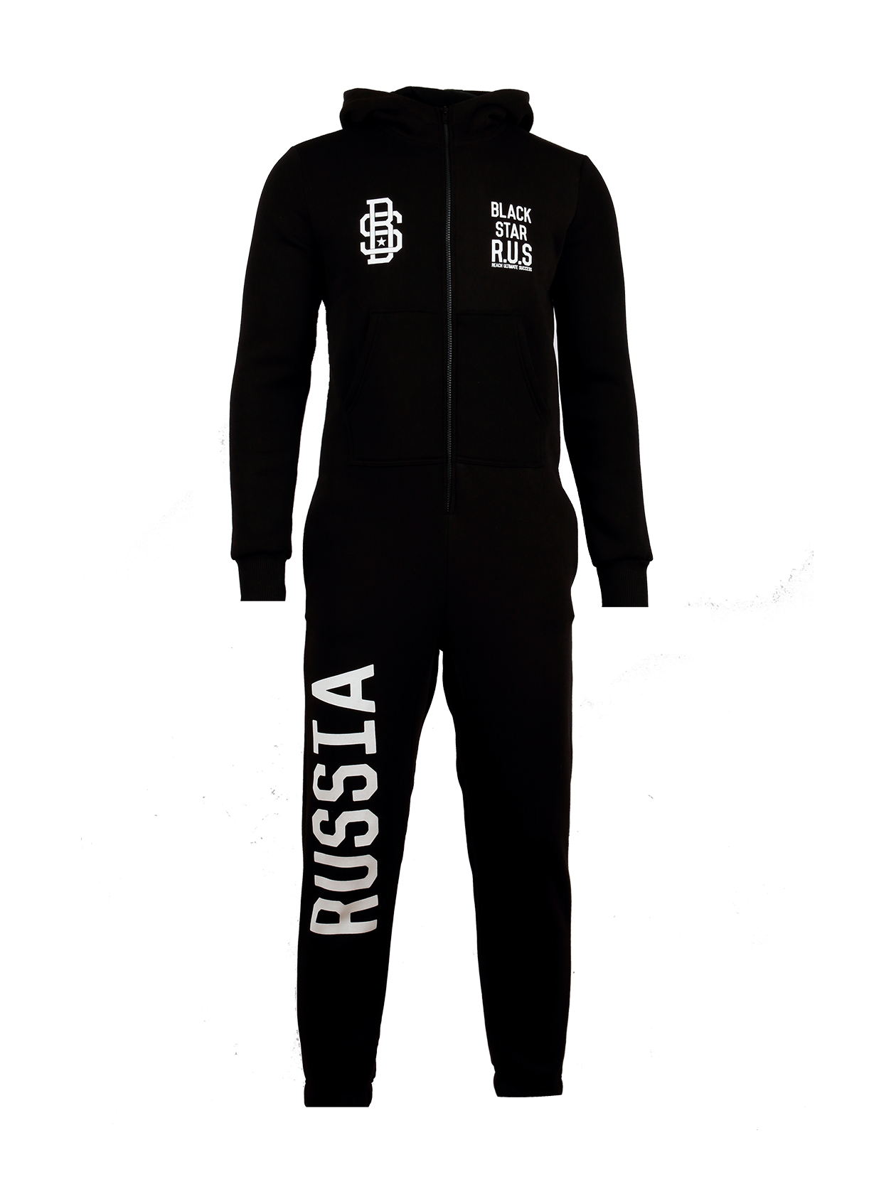 UNISEX ONESIE BLACK STAR R.U.S.Unisex onesie in black by Black Star Wear. Front zip and splitted front pocket. Small Black Star logos on the chest, Russia lettering on the right side and a two-headed eagle on the back. Cotton blend.<br><br>size: XXS<br>color: Black<br>gender: female