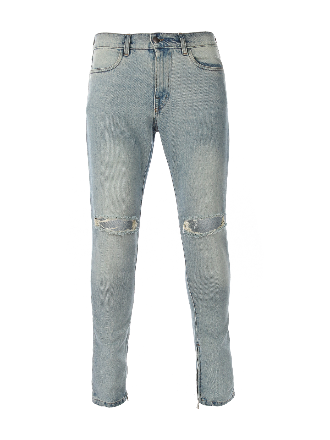 Mens jeans 13Mens jeans Capsule 13 by Black Star Wear. Slim fit, regular waist, front and back pockets, button and zipper, holes on knees. Small red label 13 on the back. Light blue washed denim.<br><br>size: 33/32 (L)<br>color: Blue<br>gender: male