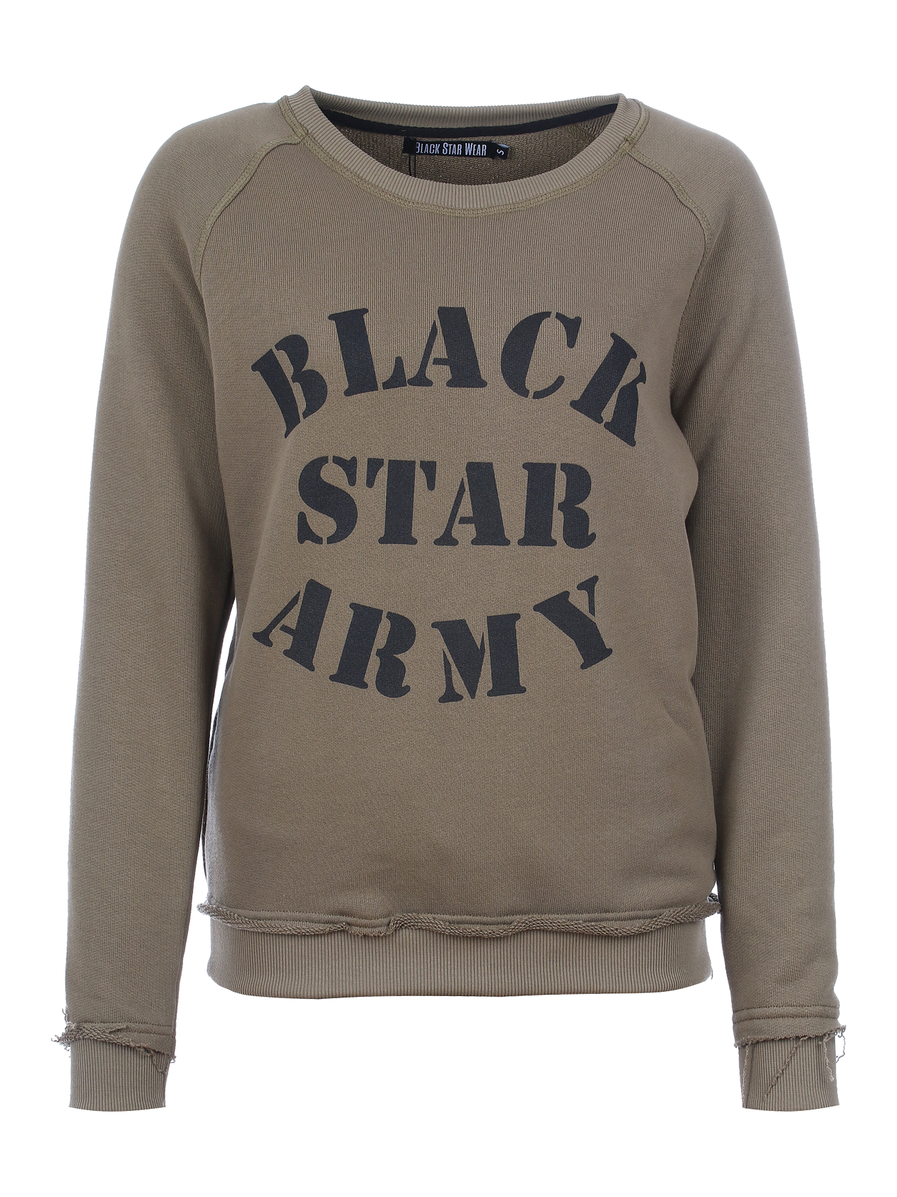 Womens sportsuit Black Star ArmyWomens sweatshirt and sweatpants set by Black Star Wear. Sweatshirt with o-neck, cuffs, big print Black Star Army. Sweatpants with side pockets and and Black Star Army print on the right side. Regular fit, natural cotton. Avaliable in khaki. Military style with raw cut elements.<br><br>size: M<br>color: Khaki<br>gender: female