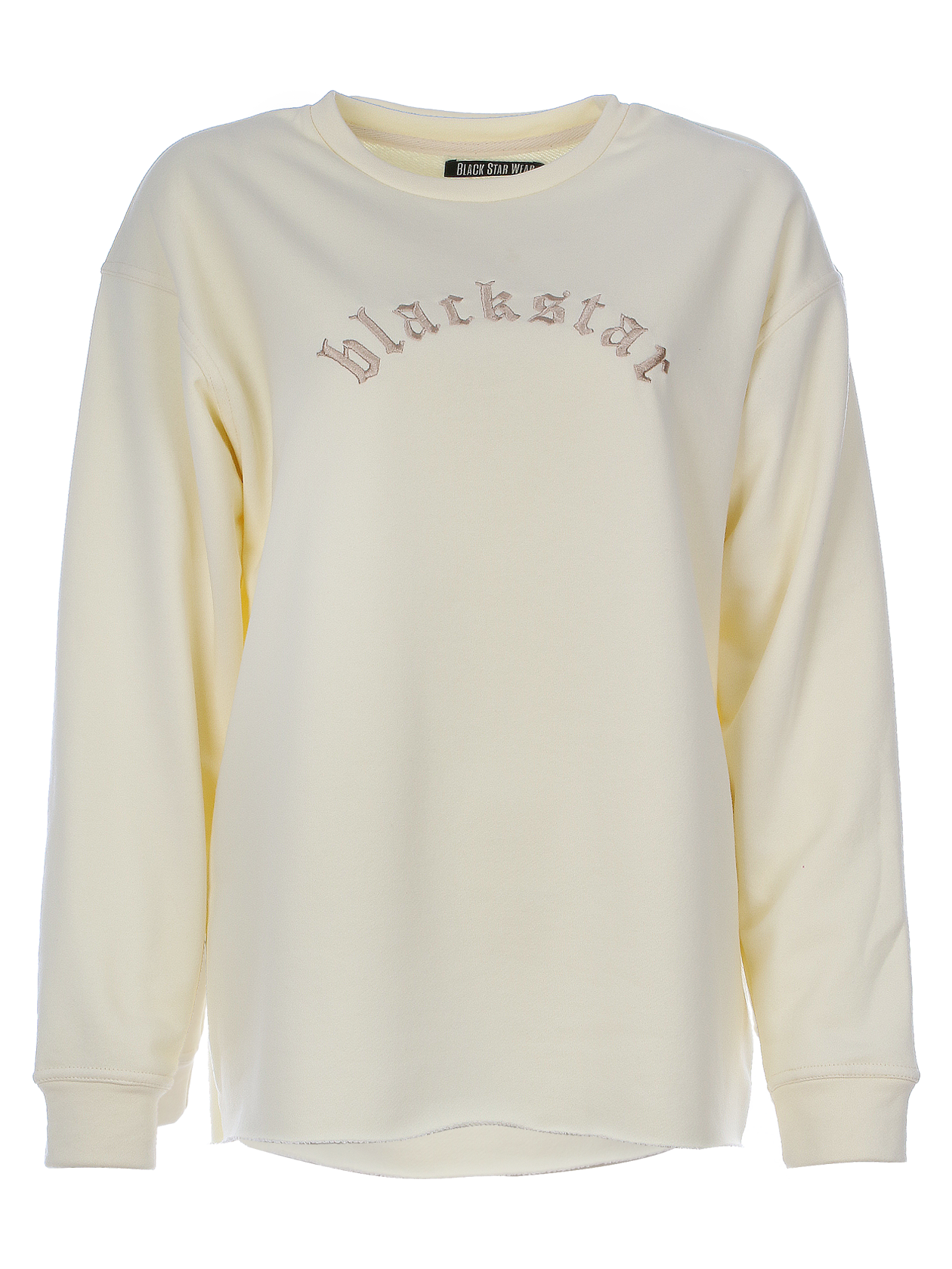 Womens sweatshirt EssentialWomens sweatshirt by Black Star Wear. Oversized fit, drop shoulder seams, cuffs. Raw cut, round neck. Blackstar embroidery on the chest. Avaliable in rose, black, beige and milky.<br><br>size: S<br>color: Beige<br>gender: female