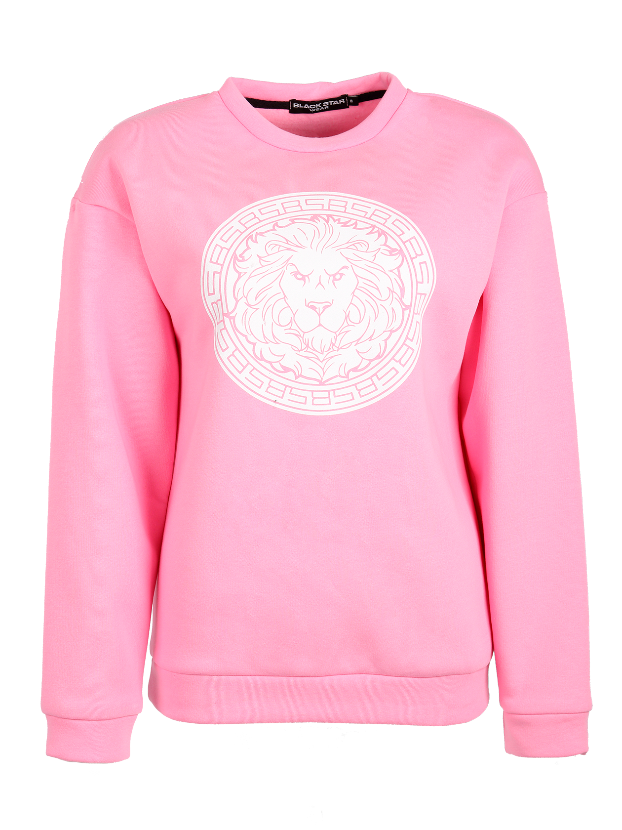 Womens hoodie Logo Black StarSoft and comfy sweatshirt by Black Star Wear. Oversized fit, drop shoulder seams, cuffs, round neck, natural cotton blend. Lions head print on the chest. Avaliable in gray and pink.<br><br>size: L<br>color: Pink<br>gender: female