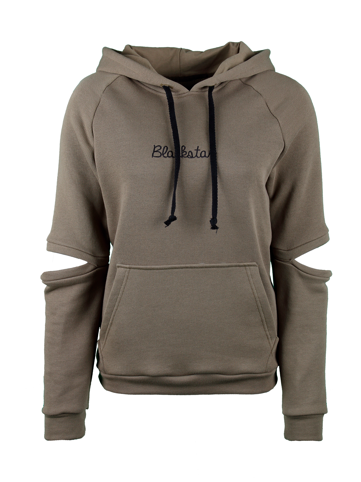 Womens hoodie Hole Black StarWomens hoodie by Black Star Wear. Slevees with holes on elbows. Elastic band cuffs and cut, front pocket. Blackstar embroidery on the chest. Avaliable in beige and khaki.<br><br>size: M<br>color: Khaki<br>gender: female