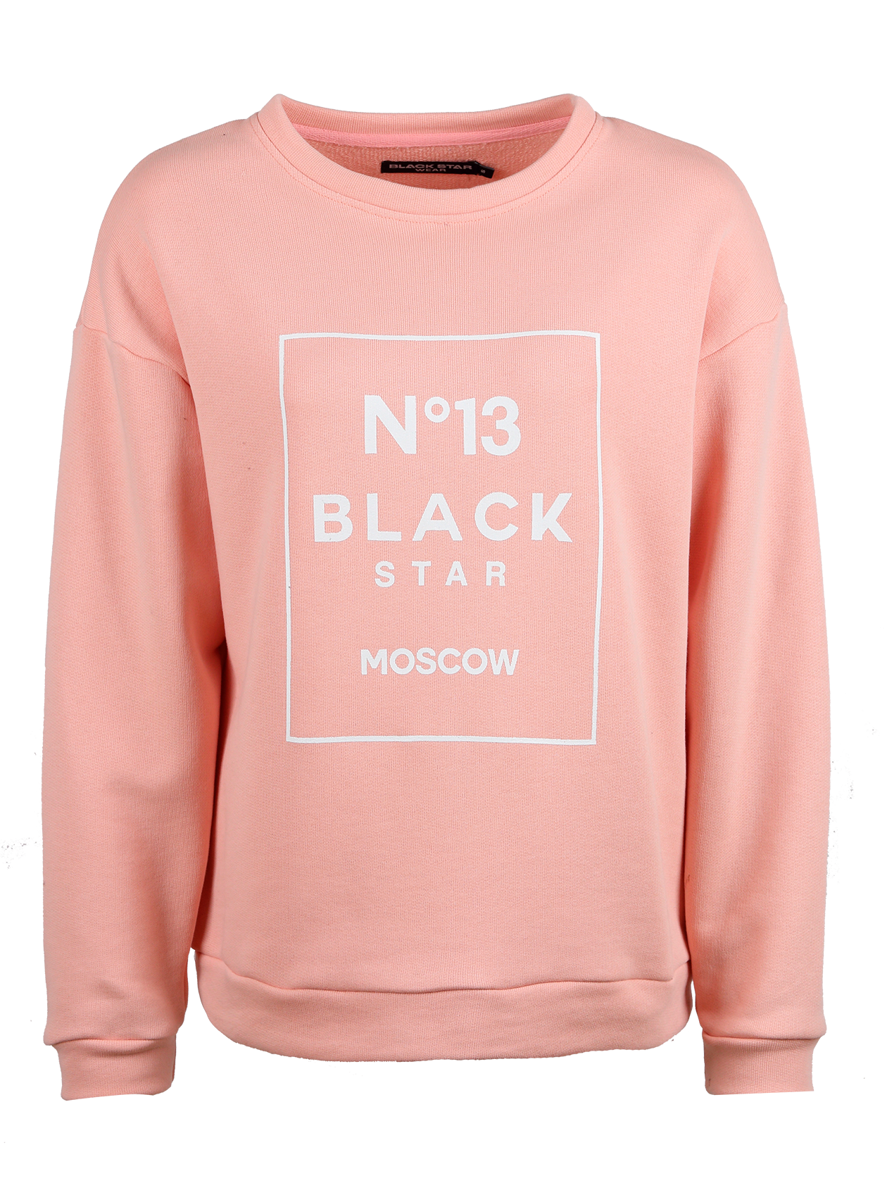 Womens sweatshirt №13 Black StarWomens sweatshirt by Black Star Wear. Made out of footer - comfy and soft. №13 Black Star Moscow print on the chest. Cuffs, cut and neck made out of elasic band. Avaliable in black and pink colors.<br><br>size: XS<br>color: Pink<br>gender: female