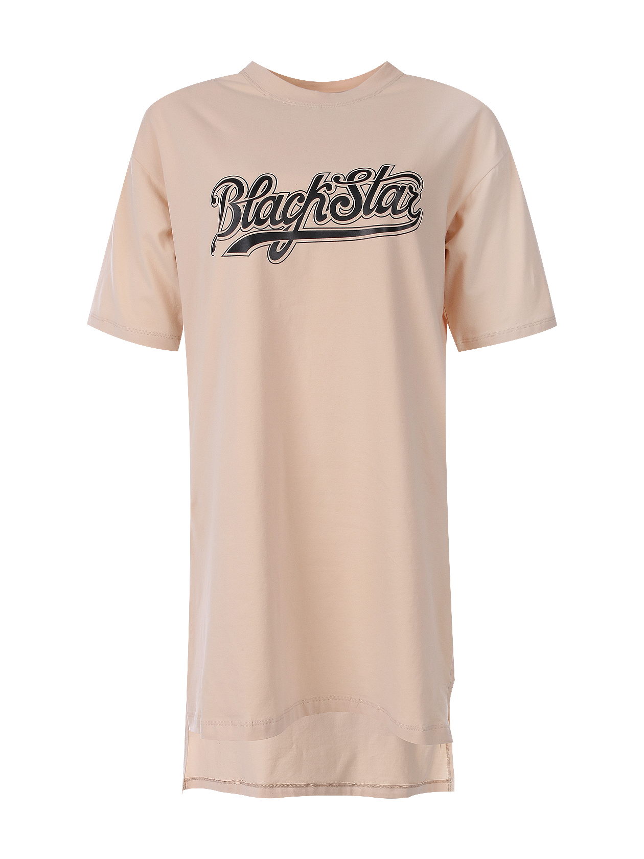 Womens t-shirt ClassicWomens oversize t-shirt with Black Star print on the chest. You can wear it with shorts, leggings, jeans or by itself. O-neck, cuts on sides, long back. Avaliable in white and beige.<br><br>size: S<br>color: Beige<br>gender: female