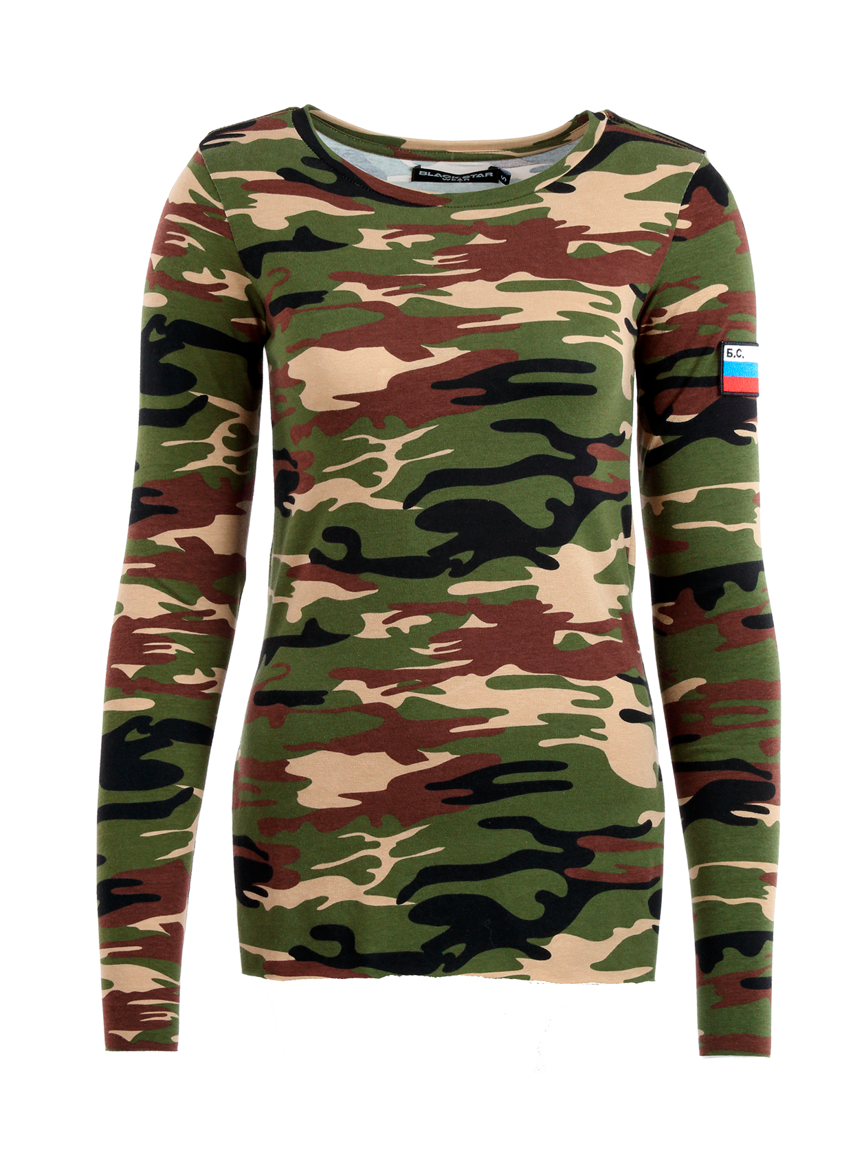 Womens long sleeve t-shirt Camo PatchWomens long sleeve t-shirt by Black Star Wear. Slim fit, o-neck, long sleeves, raw cut, small cuts on sides. Patch with a russian tricolor on the left sleeve. Natural cotton (95%), lycra (5%). Avaliable in camouflage.<br><br>size: S<br>color: Camouflage<br>gender: female