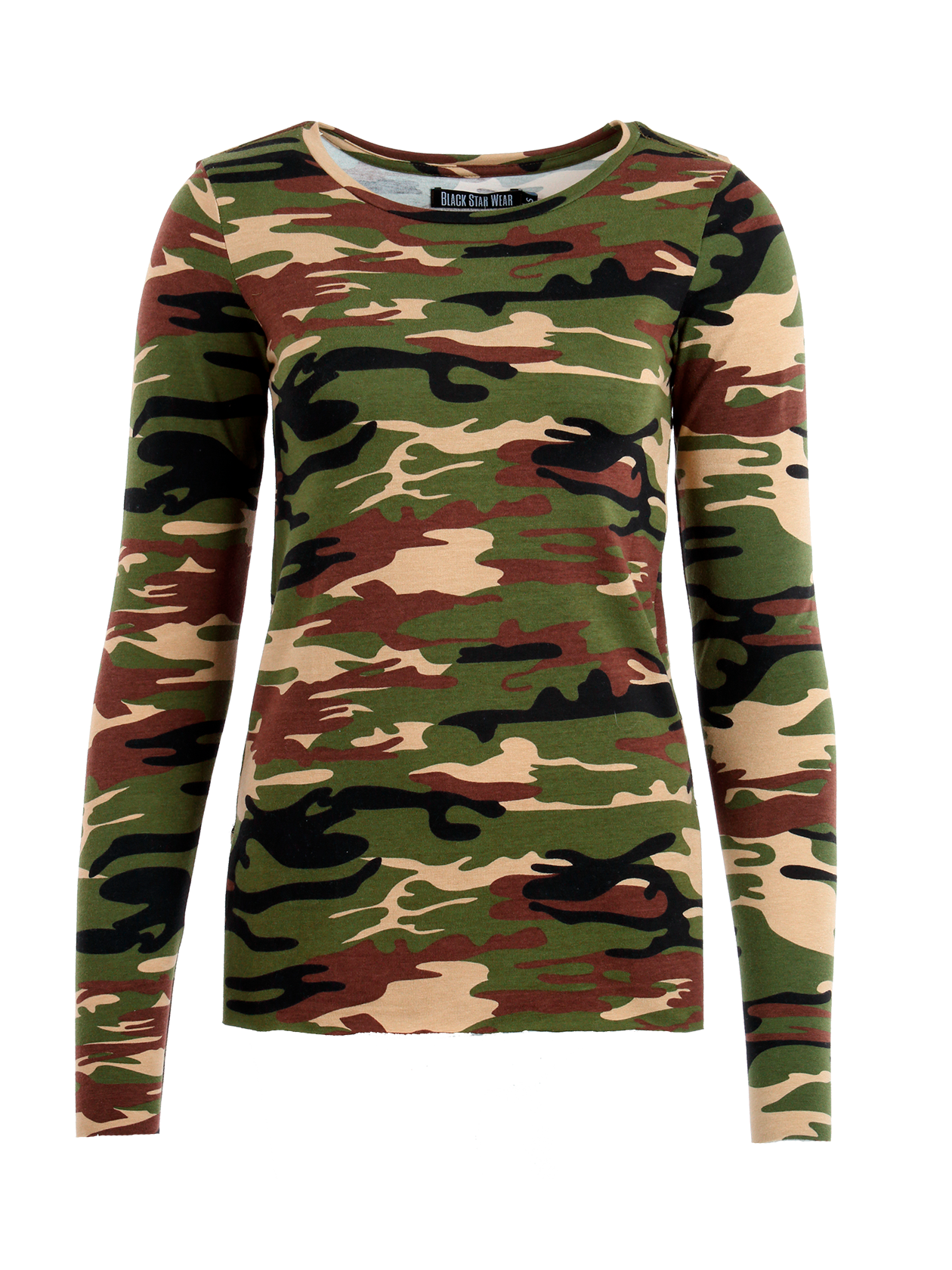 Womens long sleeve t-shirt Green Camo PatchWomens long sleeve t-shirt by Black Star Wear. Slim fit, o-neck, long sleeves, raw cut, small cuts on sides. Patch BS13 on the back. Natural cotton (95%), lycra (5%). Avaliable in camouflage.<br><br>size: S<br>color: Camouflage<br>gender: female