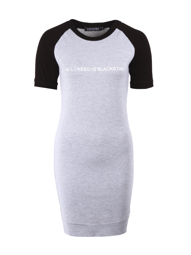 Womens dress I Need BSWomens t-shirt dress by Black Star Wear. Cut longer than standart cut, regular fit, crew neck, above knee, contrasting sleeves. All I need is Blackstar print on the chest and 13 on the back. Natural cotton plus lycra for better fitting. Avaliable in gray with black contrasting sleeves.<br><br>size: XS<br>color: Grey<br>gender: female