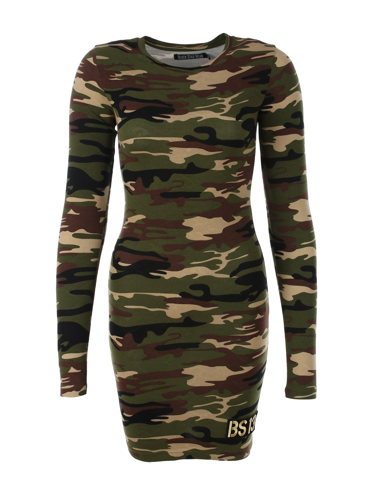 Womens dress Camo BSWomens dress in camouflage by Black Star Wear. Mostly cotton, o-neck, long sleeves, knee length, slim fit. Small patch BS13 on the front.<br><br>size: L<br>color: Camouflage<br>gender: female