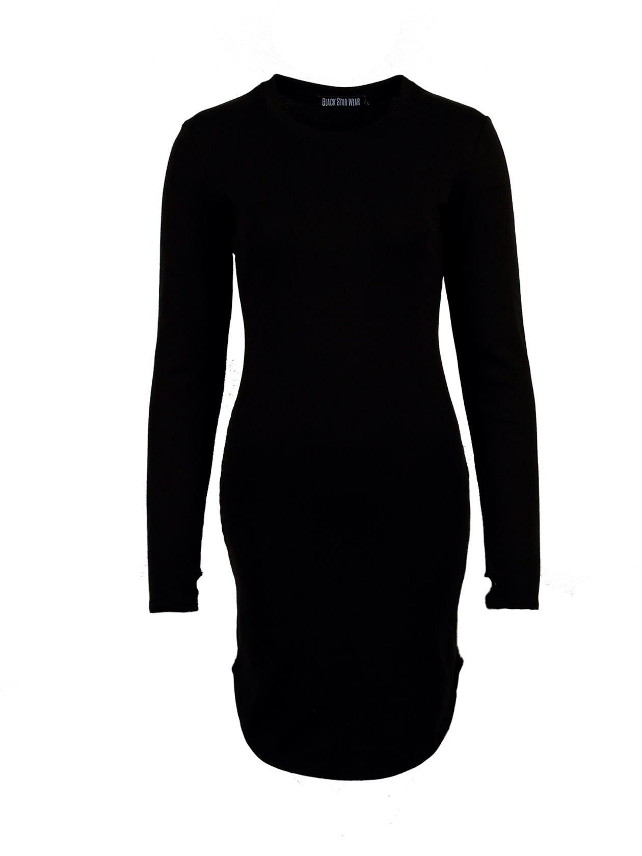 Womens dress TeaseWomens dress by Black Star Wear. Straight fit, o-neck, lond sleeves with a thumb hole. Assimetrical round cut. Small black label with #blackstar on the front. Natural cotton (95%) and lycra (5%) blend. Avaliable in red and khaki.<br><br>size: S<br>color: Black<br>gender: female