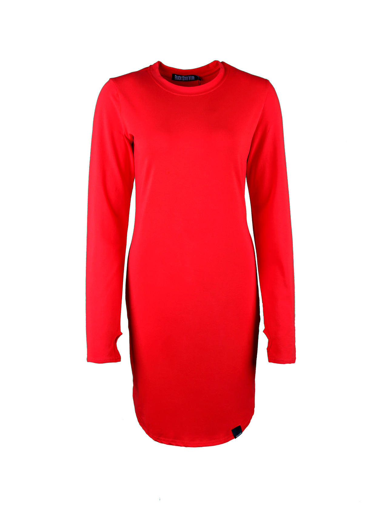 Womens dress TeaseWomens dress by Black Star Wear. Straight fit, o-neck, lond sleeves with a thumb hole. Assimetrical round cut. Small black label with #blackstar on the front. Natural cotton (95%) and lycra (5%) blend. Avaliable in red and khaki.<br><br>size: L<br>color: Red<br>gender: female