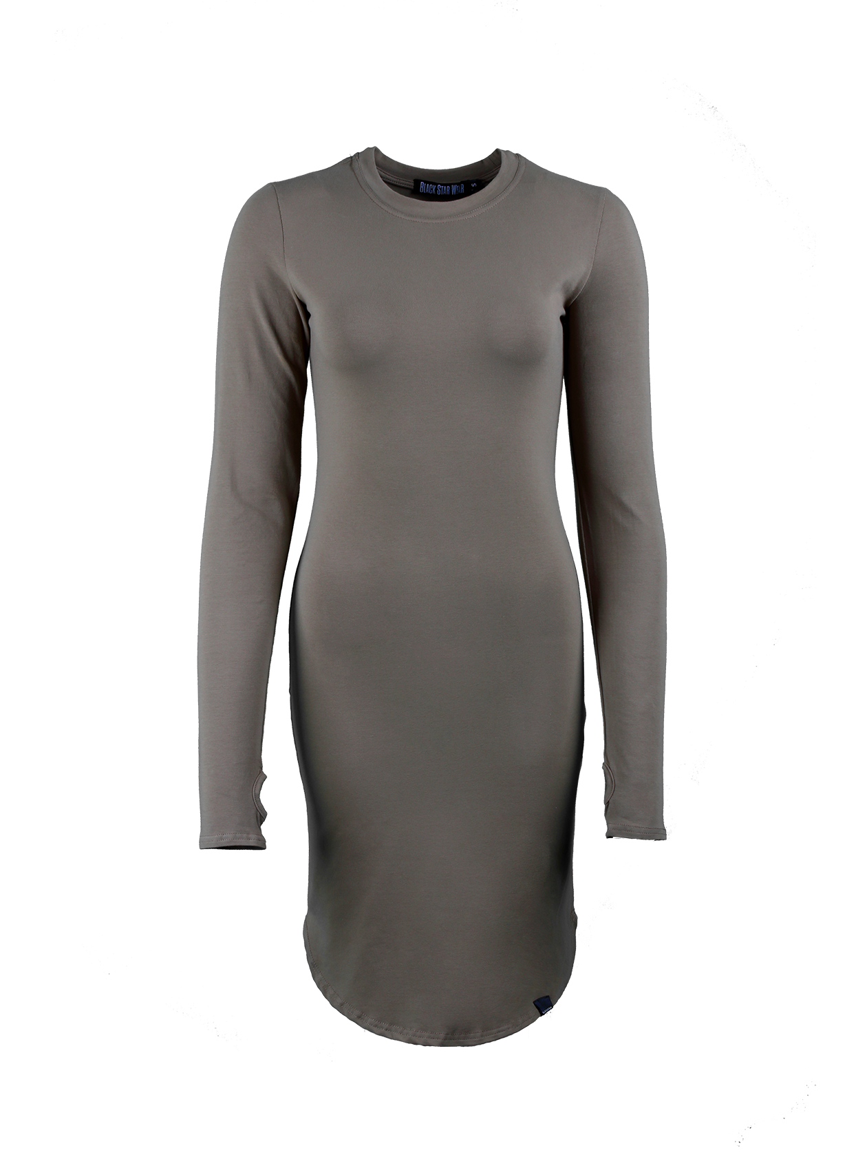 Womens dress TeaseWomens dress by Black Star Wear. Straight fit, o-neck, lond sleeves with a thumb hole. Assimetrical round cut. Small black label with #blackstar on the front. Natural cotton (95%) and lycra (5%) blend. Avaliable in red and khaki.<br><br>size: L<br>color: Khaki<br>gender: female