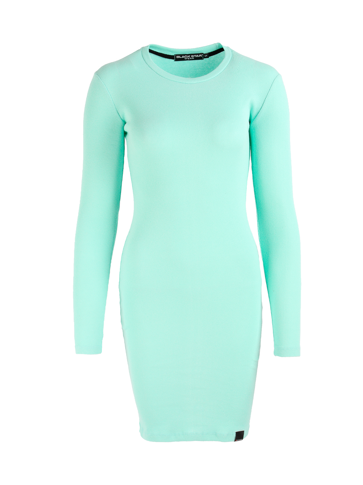 Womens dress MulticolourWomens dress by Black Star Wear. Slim fit, o-neck, lond sleeves. Small black label with #blackstar on the front. Natural cotton (90%) and lycra (10%) blend.<br><br>size: L<br>color: Mint<br>gender: female