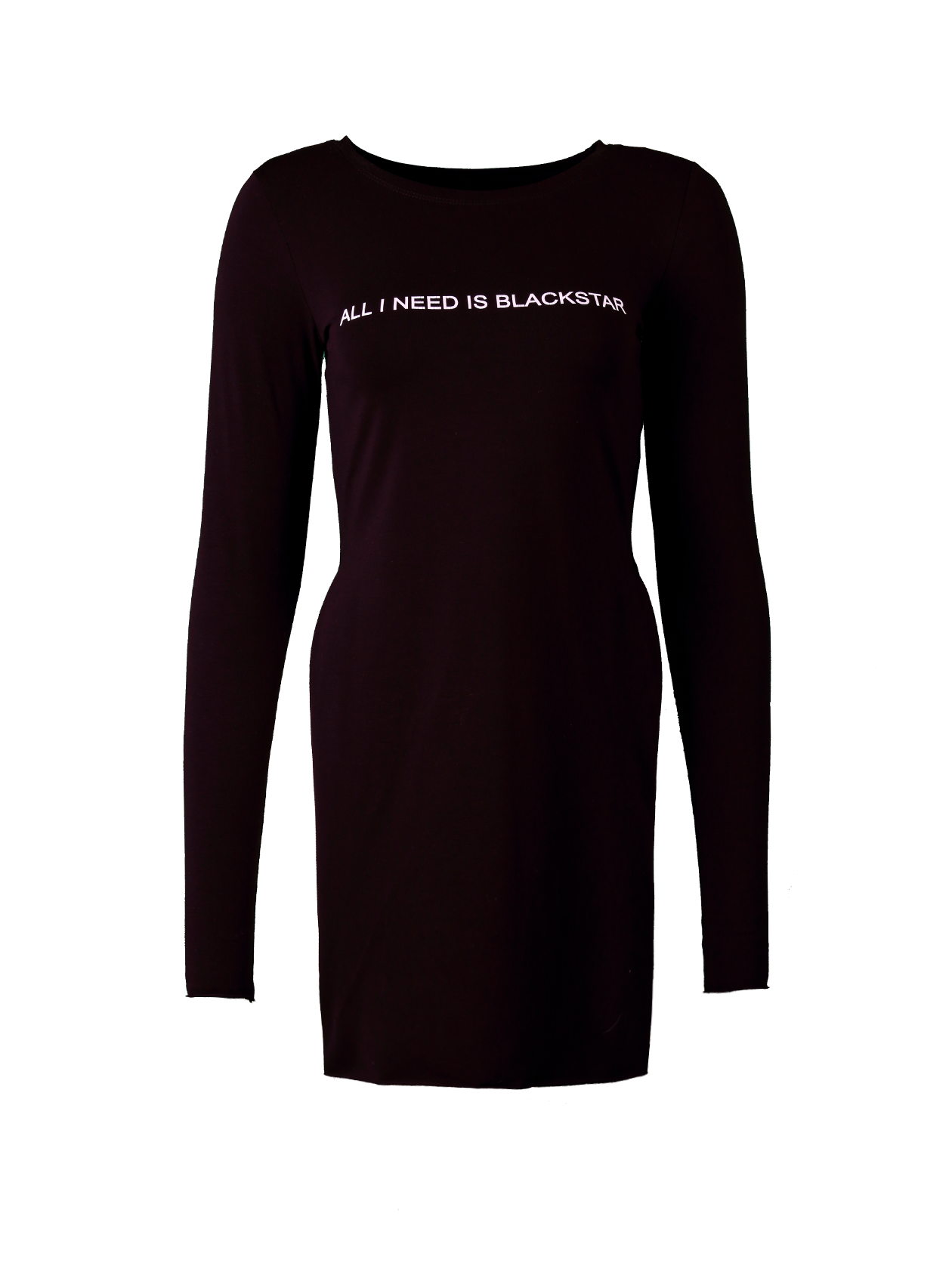 Womens tunic All I Need Is BS13Womens tunic by Black Star Wear. Knee length, long sleeves, o-neck, raw cuts. All I need is a Blackstar print on the chest and 13 on the back. Natural cotton and elastan blend.&amp;nbsp;<br><br>size: L<br>color: Black<br>gender: female