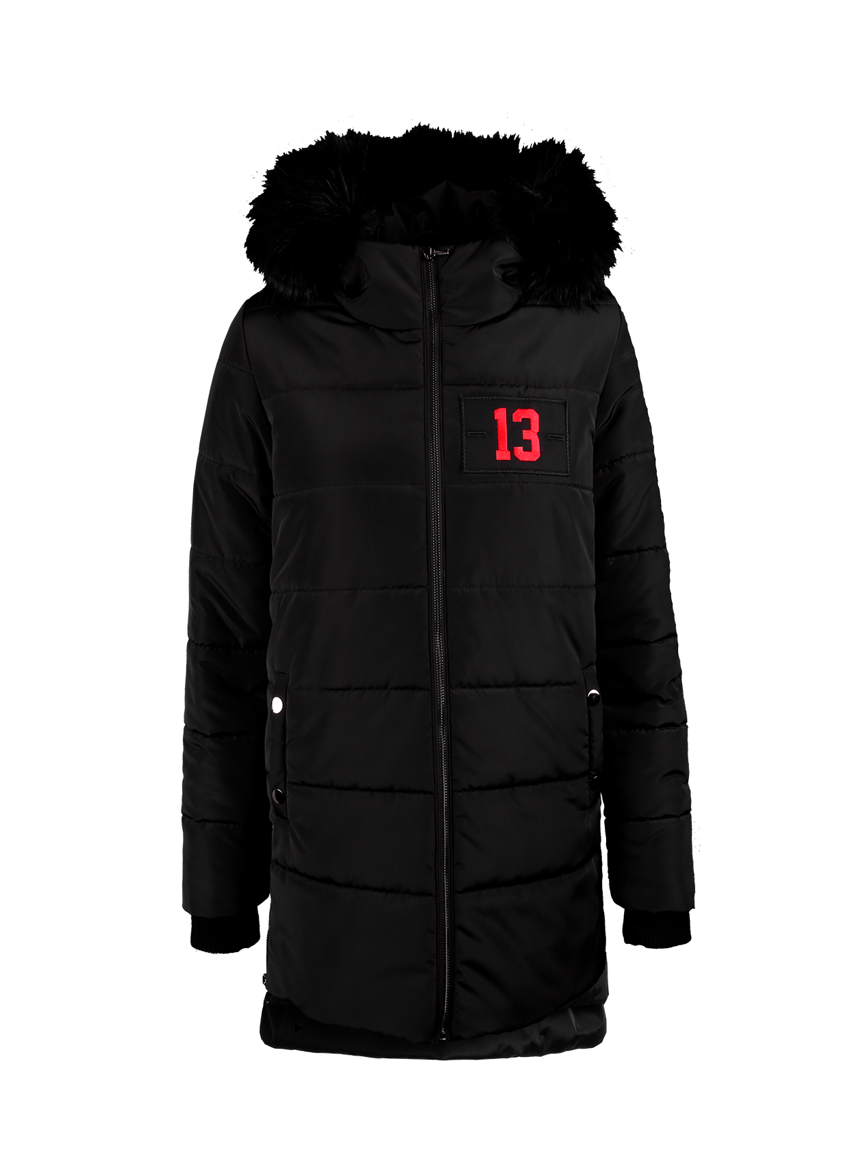 Womens jacket FAUXWomens jacket by Black Star Wear. Hooded design, faux-fur trim, midweight padded fabric for extra warmth, zip fastening, functional side pockets. Regular fit - true to size. Patch  with red 13 on the left side for the black jacket and Black Star patch for khaki. Long line with assimetrical cut. Elastic cuffs, small side zips. 100% polyester.<br><br>size: M<br>color: Black<br>gender: female